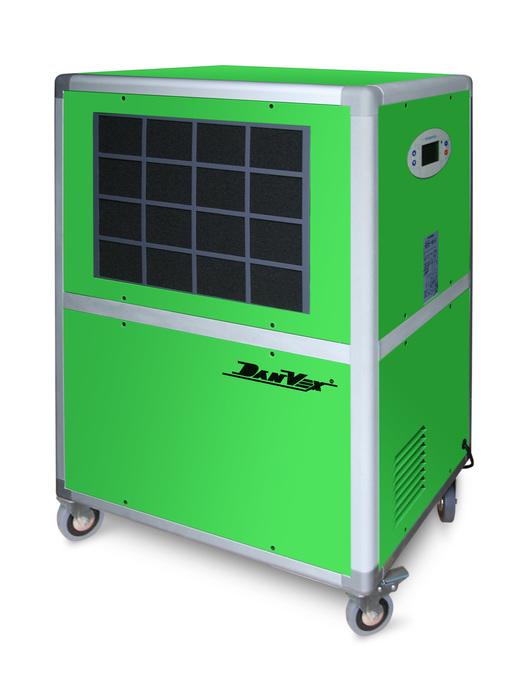 Промышленный осушитель DanVex DEH-1600i&gt; 100 литров<br>DEH-1600i от фирмы DanVex (Финляндия)   это промышленный осушитель воздуха. создан для безостановочного автоматического осушения воздуха. Модель может быть использована для подвала или для помещения большого объема. Мобильный осушитель DEH-1600i оборудован колесами для перемещения.<br><br>Страна: Финляндия<br>Производитель: Финляндия<br>Осушение л\сутки: 158<br>Производительность, мsup3;/ч: 1400<br>Функция обогрева: Нет<br>Отвод конденсата: Дренажная трубка<br>Емкость бака, л: None<br>Хладагент: R22<br>Корпус: металл<br>Уровень шума, Дба: 52<br>Мощность, Вт: 1750<br>Напряжение, В: 220 В<br>Установка: Напольная<br>Размер ВхШхГ,см: 60х46х91<br>Вес, кг: 60<br>Гарантия: 2 года