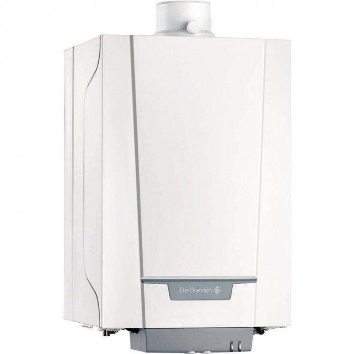 Котел De Dietrich PMC-M 24/28 MI PLUS HR11824 кВт<br>De Dietrich (Де Дитриш) PMC-M 24/28 MI PLUS HR118   это модель конденсационного газового котла, предназначенного для настенного размещения в помещениях жилого типа. Оборудование используется для отопления помещения и его обеспечения горячей водой. Допускается возможность подключения дополнительных аксессуаров, упрощающих эксплуатацию оборудования.<br>Особенности и преимущества:<br><br>Для работы на природном газе или пропане (не требуется никакого дополнительного оборудования для переоборудования на пропан).<br>КПД до 109,2 % (температурный режим 50/30 С, 30% от номинальной мощности котла).<br>NOх   60 мг/кВт ч : 5 класс.<br>Высокоэффективный, компактный литой теплообменник из сплава алюминия с кремнием.<br>Модуль газ/воздух содержит модулирующую газовую горелку с диапазоном модуляции от 24% до 100%, газовый клапан, обратный клапан для работы с коллективным дымоходом под избыточным давлением, электронную плату, трубу Вентури, вентилятор с шумоглушителем для подачи воздуха на горение, трубку подачи газа.<br>Гидравлический модуль с энергоэффективным модулирующим насосом класса А, переключающим клапаном отопление/ГВС, пластинчатым теплообменником с большой площадью теплообмена для нагрева горячей санитарно-технической воды, предохранительным клапаном на 3 бар, ограничителем расхода, датчиком расхода, автоматическим воздухоотводчиком.<br>Расширительный бак объемом 8 л встроен в опорную раму.<br>Съемная панель управления, которую можно установить под котлом или повесить на стене, имеет 2 ручки для регулировки температуры для отопления и для ГВС, а также 2 клавиши со светодиодами    трубочист  и  reset  (сброс).<br><br>Всемирно известный производитель De Dietrich представляет вниманию своих потребителей серию конденсационных газовых котлов настенного исполнения Naneo. Главным преимуществом серии является наличие горелки с модуляцией мощности, благодаря чему происходит значительная экономия энергии. Компактные и производ