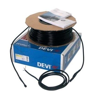 Теплый пол Devi Devisafe 20T 2690 ВтНагревательные кабели<br> Devisafe 20T    это инновационное решение проблемы скопления снега на кровлях зданий, а также образования льда в водостоках и желобах различного назначения. Данная модель имеет две греющие жилы, которые оснащены трехслойной изоляцией и алюминиево-медным экраном. Максимальная мощность кабеля составляет 2,69 кВт, длина модели   135 метров.<br>Особенности и преимущества рассматриваемой модели греющего кабеля от компании Devi:<br><br>Двухжильный экранированный кабель высокого качества.<br>Применятся для наружной установки.<br>Монтаж совместно с лентой модели DEVIfast или DEVIfast Double.<br>Без содержания свинца.<br>Не содержит ПВХ и галогенов.<br>Высокая экологическая безопасность.<br>Широкий спектр возможности применения.<br>Максимальная экономия электрической энергии.<br>Идеальное решение, как  для дома, так и для помещений другого типа.<br>Внутренняя изоляция FEP (тефлон).<br>Промежуточная изоляция PEX.<br>Наружная изоляция PVC черная.<br>Максимальная температура нагрева   80 градусов.<br>Управление системой при помощи терморегулятора DEVIreg 850 (не входит в комплект).<br>Гарантия качества и длительного срока эксплуатации.<br>Сертификаты: УкрСЕПРО, ГОСТ Р, IEC800,  DEMKO, CE.<br><br>Предлагаем вниманию профессионалов серию специализированных нагревательных кабелей от торговой марки Devi    DEVIsafe 20T (DTСE-20) , которая  разработана для предотвращения замерзания водостоков, а также для создания систем снеготаяния на кровлях и желобах. Все модели линейки отличаются абсолютной безопасностью и длительным сроком эксплуатации. Кабель серии DEVIsafe устойчив к воздействию ультрафиолетовых лучей и различным атмосферным воздействиям. Нагревательные кабели серии представлены широким рядом моделей, где изделия отличны по мощности и длине.<br> <br><br>Страна: Дания<br>Мощность, кВт: 2,69<br>Удельная мощ., Вт/м?: 16,75/20,0<br>Длина, м: 135<br>Площадь, м?: None<br>Тип кабеля: Двужильный<br>Напряжение, В: 220/230<b