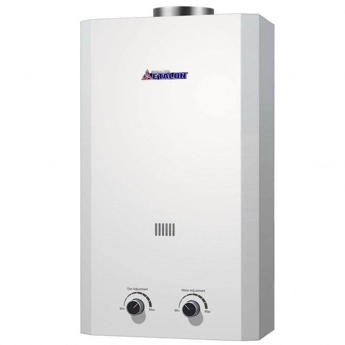 Водонагреватель ETALON A 10 L16-21 кВт<br>Etalon A 10 L &amp;ndash; это современный газовый водонагреватель, который обеспечивает подачу горячей воды на протяжении всего года. Оборудование защищено от перегрева. Корпус колонки изготовлен из прочной стали, устойчивой к термическому воздействию и коррозии. Удобная система управления и многоуровневая защита гарантируют безопасное использование агрегата.<br>Особенности и преимущества:<br><br>Мощный луженый теплообменник;<br>Регулировка протока воды и объёма подачи газа;<br>Электронный розжиг горелки;<br>Многоступенчатая система защиты;<br>Батарейки в комплекте.<br><br>Газовые колонки от бренда Etalon &amp;mdash; это разработка отечественного производителя, которая станет прекрасным выбором для использования в бытовых целях. Высокая производительность водонагревателей сочетается с экономичным потреблением газа, а стильный дизайн устройств эргономичен. Вместе с наличием прекрасной системы безопасности все это делает газовые колонки Etalon прекрасными представителями своего сегмента.<br><br>Страна: Россия<br>Производитель: Россия<br>Способ нагрева: Газовый<br>Производительность: 10<br>Темп. нагрева, С: None<br>Давление на входе: 0,25...8<br>Мощность, кВт: 20,0<br>Тип камеры: Открытая<br>Дисплей: Нет<br>Защита: Да<br>Установка: Настенная<br>Розжиг: Электророзжиг<br>Теплообменник: Медный<br>Модуляция мощности: Нет<br>Габариты ШхВхГ, см: 34x64x15,5<br>Вес, кг: 10<br>Гарантия: 1 год<br>Ширина мм: 340<br>Высота мм: 640<br>Глубина мм: 155