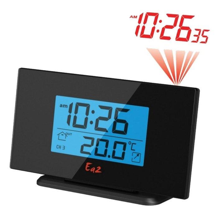 Электронные проекционные часы Ea2 BL506Красная проекция<br>Удобные в эксплуатации современные электронные часы Ea2 BL506 с метеостанцией будут транслировать на потолок актуальную информацию о времени, дате и температуре воздушных масс в месте, где установлен входящий в комплектацию датчик. Электронные часы  максимально просто управляются, подходят для настольной установки, не шумят и не требуют постоянного контроля над процессом работы.<br><br>Страна: Китай<br>Питание, В: Батарейки<br>Тип батарейки: ААА<br>Колво батареек: 3<br>Адаптер к 220В: Нет<br>С будильником: Да<br>Радиодатчик: None<br>С метеостанцией: Да<br>В помещении t, С: Нет<br>За окном t, С: Да<br>Влажность в помещении: Нет<br>Влажность за окном: Нет<br>Давление: Нет<br>Прогноз погоды: Нет<br>Габариты, мм: 158x87x48<br>Вес, кг: 1<br>Гарантия: 1 год<br>Ширина мм: 87<br>Высота мм: 158<br>Глубина мм: 48