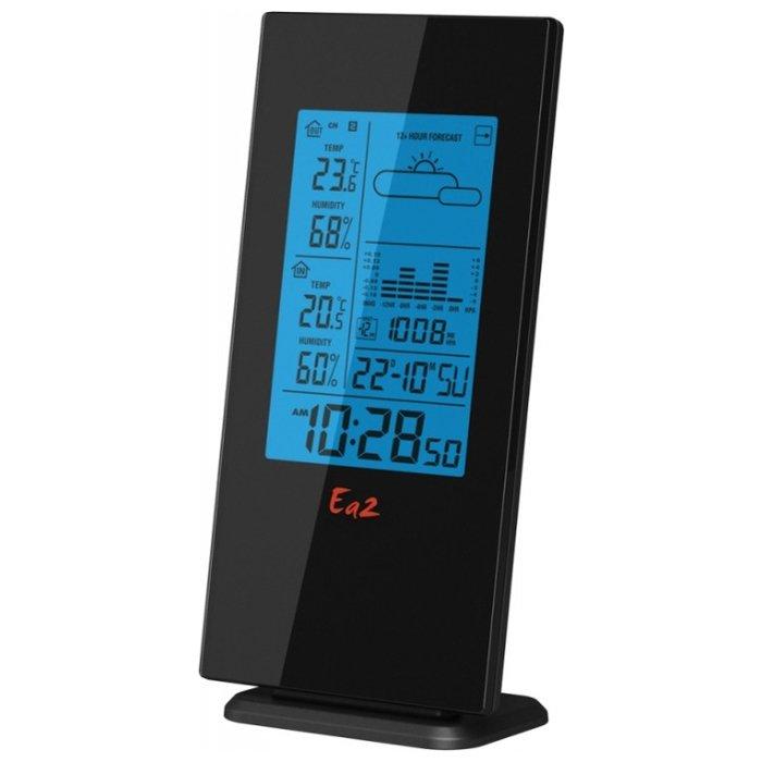 Цифровая метеостанция Ea2 BL508С радиодатчиком<br>Многофункциональная метеостанция Ea2 BL508 представляет собой отличный вариант для размещения в квартире или на загородной даче. Агрегат позволяет следить за параметрами воздушных масс в широком температурном диапазоне, не производит шума и абсолютно безопасен при использовании. Метеостанция автономна и не нуждается в подключении к электросети.<br>Особенности и преимущества метеостанции:<br><br>Измерение атмосферного давления, столбиковая диаграмма истории измерений за 12 часов<br>Отображение фаз Луны<br>Прогноз погоды<br>Измерение комнатной температуры<br>Измерение наружной температуры и влажности<br>Измерение комнатной влажности<br>Память мин./макс. температур<br>Часы<br>Календарь<br>Будильник<br>8-минутная функция дремать<br><br>Умные гаджеты от торговой марки Ea2   это отличное приобретение для себя или в подарок! Семейство представлено множеством интересных и полезных решений: различные метеостанции, многофункциональные часы, термометры и целый ряд аксессуаров. Все приборы исполнены в стильном эргономичном дизайне, имеют очень понятное управление и весьма информативный интерфейс. <br> <br> <br> <br> <br> <br> <br> <br> <br> <br><br>Страна: Китай<br>Диапазон темп. t, С: 40+50<br>Диапазон p, мм. рт. ст.: None<br>Диапазон rH, : 2099<br>Разрешение t, С: 0,1<br>Цвет корпуса: Черный<br>Питание, В: Батарейки<br>Колво батареек: 3<br>Тип батарейки: ААА<br>Адаптер к 220В: Нет<br>В комнате t, С: Да<br>За окном t, С: Да<br>Влажность в помещении: Да<br>Влажность за окном: Да<br>Давление: Да<br>Прогноз погоды: Да<br>Лунный календарь: Да<br>Размер, мм: 158х80х19<br>Вес, кг: 1<br>Гарантия: 1 год<br>Ширина мм: 80<br>Высота мм: 158<br>Глубина мм: 19