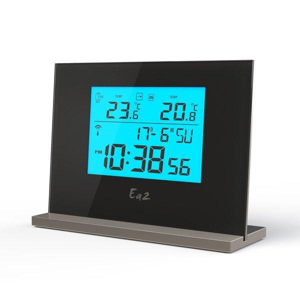 Термометр Ea2 EN201С радиодатчиком<br>Цифровой термометр Ea2 EN201с выносным датчиком не только транслирует актуальную информацию о температуре воздуха, но и исполняет роль комнатных часов, благодаря чему такому техническому функциональному устройству найдется применение в любом помещении. Термометр оснащен дисплеем с подсветкой, а также выполнен в современном корпусе с эргономичным и стильным дизайном. Прибор наиболее точно определяет параметры, чем механический.<br><br>Страна: Китай<br>Питание, В: Батарейки<br>Диапазон  t, С: 40+50<br>Тип батарейки: ААА<br>Колво батареек: 3<br>Габариты, мм: 105x140x45<br>Вес, кг: 1<br>Гарантия: 1 год<br>Назначение: Нет<br>Ширина мм: 140<br>Высота мм: 105<br>Глубина мм: 45