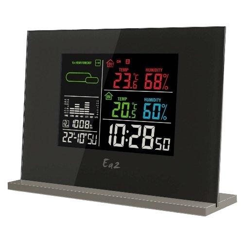 Цифровая метеостанция Ea2 EN209С радиодатчиком<br>Прекрасным дополнением любого интерьера, а также незаменимым помощником в быту является беспроводная метеостанция с цветным дисплеем Ea2&amp;nbsp;EN209 от китайского производителя. Представленное устройство сообщает пользователю показатели влажности и температуры воздушных масс, прогнозирует погоду на улице, а также исполняет роль удобных в использовании и стильных цифровых часов с функцией будильника. Такой прибор может стать и школьным вариантом.&amp;nbsp;<br><br>Страна: Китай<br>Диапазон темп. t, С: 40+50<br>Диапазон p, мм. рт. ст.: None<br>Диапазон rH, : 2099<br>Разрешение t, С: 0,1<br>Цвет корпуса: Черный<br>Питание, В: Батарейки<br>Колво батареек: 3<br>Тип батарейки: ААА<br>Адаптер к 220В: Есть<br>В комнате t, С: Да<br>За окном t, С: Да<br>Влажность в помещении: Да<br>Влажность за окном: Нет<br>Давление: Да<br>Прогноз погоды: Да<br>Лунный календарь: Нет<br>Размер, мм: 179x127x27<br>Вес, кг: 1<br>Гарантия: 1 год<br>Ширина мм: 127<br>Высота мм: 179<br>Глубина мм: 27