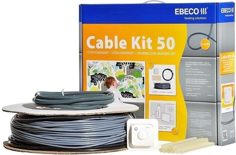 Теплый пол Ebeco Cable Kit 50 (690/640 Вт)Нагревательные кабели<br>Сделать свой дом намного уютнее и комфортнее совсем нетрудно   для этого достаточно всего лишь установить эффективную и экономичную систему теплого пола от компании EBECO. В наборе Cable Kit 50 (690/640 Вт) Вы найдете все нужные детали для самостоятельной укладки отопительной системы. Двойной экранированный кабель можно без опаски устанавливать даже во влажных помещениях, поскольку электрическая система его уже оборудована заземлением, функцию которого выполняет слой металлической оплетки.<br>Технические характеристики:<br><br>Полная комплектация   ничего не нужно покупать дополнительно<br>Двухжильная конструкция кабеля<br>Каждая нагревательная жила имеет диаметр 4 мм<br>Качественная изоляция   можно использовать в сухих и во влажных помещениях<br>Металлическая оплетка создает экран   систему не нужно заземлять<br>Неограниченная сфера применения<br>Равномерный обогрев всей площади помещения<br>Устанавливается в цементной стяжке или слое плиточного клея<br>Простота монтажа<br>Безопасен для экологии и здоровья<br>Качество, соответствующее международным стандартам<br>15 лет полной гарантии<br><br>В серии Cable Kit 50 собраны наборы, в которых имеются все необходимые комплектующие для быстрого и легкого монтажа теплого пола. То есть, приобретя набор теплого пола  EBECO серии Cable Kit 50, Вы можете самостоятельно собрать и уложить греющий кабель в стяжку, не прибегая к платной помощи специалистов.<br>Компания EBECO является одним из лидирующих производителей систем  теплого пола  стран Скандинавии. Благодаря высокому качеству материала изготовления частей для изготовления продукции, а также стабильной работе и длительному периоду бесперебойной службы систем, изделия шведской компании EBECO пользуются огромным спросом в странах всего мира.<br>Теплые полы EBECO Cable Kit имеют прочную изоляцию, позволяющую их использовать как в сухих, так и во влажных помещениях. Покрытие пола, в котором установлена систем