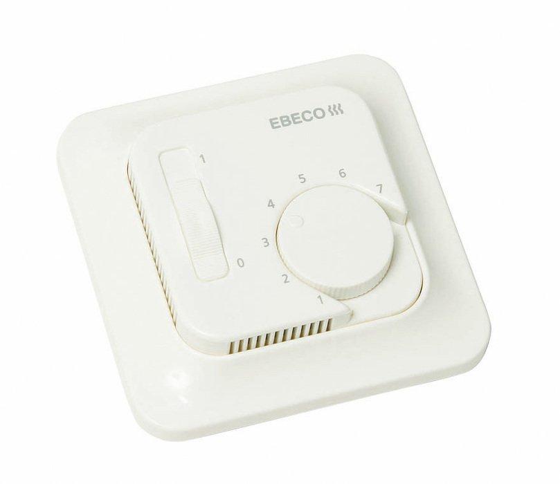 Теплый пол Ebeco EB-Therm 50Терморегуляторы<br>EBECO EB Therm 50   терморегулятор с микропроцессорным управлением для теплого пола от шведской компании Ebeco. Данный терморегулятор позволяет два вида установки   заподлицио (встраивается в стандартную 65 мм настенную коробку)  или для поверхностного монтажа (дополнительная декоративная панель включена в комплект поставки). Основное назначение EB Therm 50   это оптимальное регулирование температуры пола.<br>Особенности терморегулятора EB Therm 50:<br><br>Технология интеллектуального управления (Fuzzy technology);<br>Выносной датчик и кабель длиной 3 метра в комплекте;<br>Декоративная панель для отдельной установки;<br>Регулировка температуры пола в пределах от +5 до +45 0С;<br>Возможность установки во влажных помещениях   класс защиты IP21;<br>Предусмотрен мониторинг неисправности датчика   светодиодная сигнализация.<br><br>Технология интеллектуального управления (Fuzzy technology)<br>Все терморегуляторы, выпускаемые компанией EBECO, регулируют температуру теплого пола с помощью алгоритма, в основе которого лежит так называемая Fuzzy technology    умная  технология интеллектуального ( нечеткого ) управления. Благодаря микропроцессорному управлению, терморегулятор EB Therm 50 анализирует данные о колебаниях температуры пола (на анализ может потребоваться время   до 120 мин), для того чтобы рассчитать оптимальное время включения и выключения системы обогрева. Это позволяет минимизировать колебания температуры (отклонения составляют всего +/-0,30С) и снижает энергопотребление системой теплых полов.   <br><br>Страна: Швеция<br>Мощность, кВт: 2,7<br>Канальная мощность, кВт: None<br>Длина, м: 3,0<br>Программирование: None<br>Площадь, м?: None<br>Управление: микропроцессорное<br>Функция защиты от перегрева: None<br>Тип кабеля: 2 x 1.5 мм2<br>Размер, мм: 81x81x40<br>Напряжение, В: 220<br>Вес, кг: 1<br>Гарантия: 3 года<br>Ширина мм: 81<br>Высота мм: 81<br>Глубина мм: 40