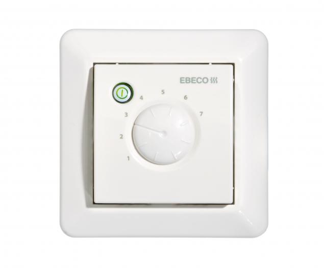 Теплый пол Ebeco EB-Therm 55Терморегуляторы<br>EBECO EB Therm 55   терморегулятор с микропроцессорным управлением от шведской компании Ebeco. Простой в управление термостат, который может использоваться для управления системой обогрева теплого пола, как комнатный термостат или объединять в себе оба способа контроля. Термостат предназначен для встраиваемого монтажа.<br>Особенности терморегулятора EB Therm 55:<br><br>Технология интеллектуального управления (Fuzzy technology);<br>Выносной датчик пола и кабель длиной 3 метра в комплекте;<br>Декоративная панель для отдельной установки (не входит в комплект);<br>Регулировка температуры пола в пределах от +0 до +60 0С;<br>Возможность установки во влажных помещениях   класс защиты IP21.<br><br>Технология интеллектуального управления (Fuzzy technology)<br>Все терморегуляторы, выпускаемые компанией EBECO, регулируют температуру теплого пола с помощью алгоритма, в основе которого лежит так называемая Fuzzy technology    умная  технология интеллектуального ( нечеткого ) управления. Благодаря микропроцессорному управлению, терморегулятор EB Therm 55 анализирует данные о колебаниях температуры пола (на анализ может потребоваться время   до 120 мин), для того чтобы рассчитать оптимальное время включения и выключения системы обогрева. Это позволяет минимизировать колебания температуры (отклонения составляют всего +/-0,30С) и снижает энергопотребление системой теплых полов.  <br><br><br>Страна: Швеция<br>Мощность, кВт: 3,5<br>Канальная мощность, кВт: None<br>Длина, м: 3,0<br>Программирование: None<br>Площадь, м?: None<br>Управление: электронное<br>Функция защиты от перегрева: None<br>Тип кабеля: 2 x 1.5 mm2<br>Размер, мм: 84x84x40<br>Напряжение, В: None<br>Вес, кг: 1<br>Гарантия: 3 года<br>Ширина мм: 84<br>Высота мм: 84<br>Глубина мм: 40