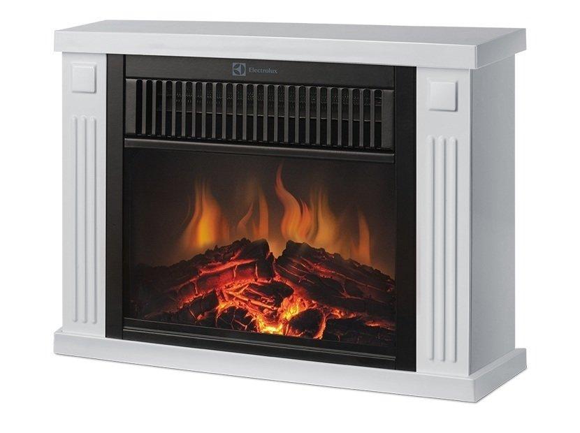 Маленький электрокамин для дома Electrolux EFP/M- 5012WКаминокомплекты<br>EFP/M-5012W   очаг с живым пламенем в комплекте с порталом, благодаря которому любое помещение будет наполнено теплом и уютом, комфортной моральной обстановкой, настроением умиротворенности. Белый глянцевый корпус подчеркнет изысканность интерьера для дома, а мощности обогревателя достаточно для обогрева комнаты, площадь которой может достигать 17 м2. Низкая конструкция позволит разместить устройство даже в ограниченном пространстве. <br><br>Страна: Швеция<br>Материалы портала: Металл<br>Мощность, кВт: 1,2<br>Обогреватель: Есть<br>Фильтр очистки воздуха: Нет<br>Пламя Optiflame: None<br>Эффект топлива: Прогоревшие дрова<br>Цвет: Белый<br>Потрескивание: Нет<br>Пульт: Есть<br>Дисплей: Нет<br>Тип камина: Электрический<br>ГабаритыВШГ,мм: 295x390x215<br>Вес, кг: 4<br>Гарантия: 1 год