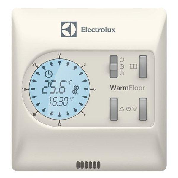 Теплый пол Electrolux ETA-16Терморегуляторы<br>Удобный электронный терморегулятор для теплового пола модели Electrolux ETA-16 позволяет производить настройку температур покрытия в промежутке от +5 до +50 градусов. На панели управления присутствует подсвечиваемый ЖК-дисплей. Корпус устойчив к внешним воздействиям.<br>Комплектация <br><br>Терморегулятор;<br>Датчик температуры пола с соединительным проводом длинной 3 м;<br>Гарантийный талон;<br>Инструкция по монтажу;<br>Болт для крепления - 2 шт.;<br>Упаковка.<br><br><br>Страна: Швеция<br>Мощность, кВт: 0,002<br>Канальная мощность, кВт: None<br>Длина, м: None<br>Программирование: Да<br>Площадь, м?: None<br>Управление: Электроенное<br>Функция защиты от перегрева: None<br>Тип кабеля: None<br>Размер, мм: 90x86x46<br>Напряжение, В: 220 В<br>Вес, кг: 1<br>Гарантия: 3 года<br>Ширина мм: 86<br>Высота мм: 90<br>Глубина мм: 46