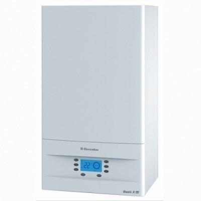 Котел Electrolux GCB 11 Basic Space Fi10 кВт<br>Настенный газовый котел  Electrolux (Электролюкс) GCB 11 Basic Space Fi. Модель имеет два контура и закрытую камеру сгорания, встроен современный битермический теплообменник и многоуровневая системе безопасности. Теплообменник выгодно выделяет отопительный прибор среди конкурентов, благодаря идеальному совмещению двух контуров отопления и горячего водоснабжения с возможностями камеры сгорания, а с помощью принудительной системе дымоудаления показатели производительности высоки.   <br>Технические возможности и функциональные преимущества газового отопительного оборудования компании Electrolux:<br><br>Система дистанционного беспроводного управления<br>Встроенная система погодозависимого управления<br>Система адаптации к малым системам отопления с электронной модуляцией<br>Автоматический электронный розжиг и надежный ионизационный контроль пламени<br>Интеллектуальная система самодиагностики с визуальным отображением кодов неисправностей<br>Возможность подключения комнатного термостата<br>Система безопасности автоматически отключает подачу газа при: погасании пламени, перегреве котла, недостаточном для безопасной работы давлении теплоносителя или расходе ГВС через теплообменник, нарушении отвода продуктов сгорания, неисправности электроники<br>Дополнительный режим работы -  тёплый пол  (Affect Flour)<br><br>Эффективная и высокопроизводительная серия Basic выгодно выделяется среди аналогов своим прогрессивным внешним видом, каждая линий конструкции подчеркивает техническое совершенство функциональных возможностей. Два контура и закрытая камера сгорания, улучшена система адаптации к небольшим отопительным системам с электронной модуляцией. Встроен современный и надежный битермический теплообменник, который способен идеально совмещать два контура. Безопасное совмещение отопления и горячего водоснабжения с закрытой камерой сгорания с высокоэффективной принудительной системой дымоудаления. Предусмотрено дистанционное беспроводн