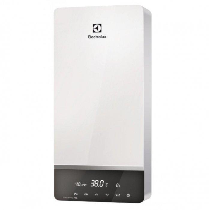 Водонагреватель Electrolux NPX 18-24 SENSOMATIC PRO24 кВт<br>Если Вы хотите, чтобы в Вашем доме в любой момент была горячая вода в любом объеме, установите в нем электрический проточный водонагреватель Electrolux модели NPX 18-24 SENSOMATIC PRO. Полностью автоматизированная система управления этого прибора позволит Вам не настраивать вручную все параметры работы водонагревателя, а только установить желаемую температуру   все условия для получения воды заданной Вами температуры оборудование создаст и откорректирует самостоятельно. Изумительный дизайн прибора позволит стать этому водонагревателю украшением комнаты, в которой он будет установлен.<br>Особенности модели:<br><br>Высокая производительность<br>Спиральный нагревательный элемент из нержавеющей стали<br>Электронное управление<br>Система Multi Memory<br>Детский режим<br>Сенсорная панель управления<br>Может быть установлен в ванной<br>Обеспечивает несколько точек водозабора<br>Автоматическое включение и выключение<br>Защита от перегрева<br>Защита от накипи   ТЭН не контактирует с водой<br>Система обнаружения воздушных пробок<br>Система самодиагностики<br>Защитный термостат<br>LCD-дисплей<br>Индикация температуры нагрева<br>Индикация протока воды<br>Элегантный дизайн<br><br>Компания Electrolux предлагает новую серию электрических проточных водонагревателей Sensomatic Pro, которую выделяет высокая производительность, элегантный дизайн корпуса и интеллектуальная система управления с технологией Multi Memory. Электронная система управления выводит на жидкокристаллический дисплей всю информацию о работе водонагревателя и состоянии прибора.<br>Настенный проточный водонагреватель Electrolux серии Sensomatic Pro универсален в использовании и может быть установлен в квартире, загородном коттедже, офисе или на даче   в любом помещении, где нужно быстро и эффективно решить проблему горячего водоснабжения.<br>Автоматический запуск работы водонагревателя позволяет Вам не отвлекаться на ручное включение прибора каждый раз, ка
