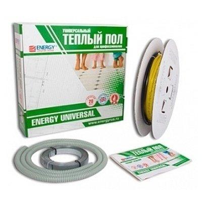 Теплый пол Energy Universal 750 ВтНагревательные кабели<br>Модель Universal , мощностью в 750 Вт &amp;ndash; это ультрасовременное решение проблемы отопления помещений различного назначения &amp;ndash; высокотехнологичная система &amp;laquo;Теплый пол&amp;raquo; от популярного бренда Energy. Двужильный нагревательный кабель, который является источником тепла в системе, оснащен качественной изоляцией. Кроме того, поверх нее находится слой оплетки и внешняя оболочка. Такое решение гарантирует безопасность и высокую степень комфорта эксплуатации.<br>Основные преимущества использования рассматриваемой модели теплого пола от бренда &amp;nbsp;Energy:<br><br>Двухжильный кабель высокого качества.<br>Фторполимерная изоляция греющих жил.<br>Полная защитная оплетка из 14 медных оцинкованных жил диаметром 0,3 мм.<br>Защитная фольга типа AIPET, и внешняя PVC изоляция.<br>Максимальная экономия электрической энергии.<br>Автоматический терморегулятор с точным поддержанием заданной температуры.<br>Автономная работа.<br>Высокое качество и надежность.<br>Удобство и комфорт в эксплуатации.<br>Экологически безопасен.<br>Длительный срок безукоризненной службы.<br>Комплектация изделия: Нагревательный кабель Energy Universal на катушке, монтажная металлическая лента, гофрированная трубка для датчика температуры, упаковка, паспорт изделия, инструкция по установке.<br><br>Известный производитель климатической техники Energy разработал серию нагревательных кабелей для создания системы &amp;laquo;Теплый пол&amp;raquo; &amp;ndash; Universal. Все модели серии отличаются высоким качеством и совершенной безопасностью в эксплуатации. Монтаж кабеля производится в стяжку, поверх возможно использование паркетной доски, ламината, линолеума,&amp;nbsp; плитки и ковролина. Если кабельная система обогрева пола установлена профессионалом в соответствии со всеми установленными стандартами, то совершенно нет необходимости в дальнейшем сервисном обслуживании системы.&amp;nbsp;<br><br>Мощность, кВт: 0,75<br>Стр
