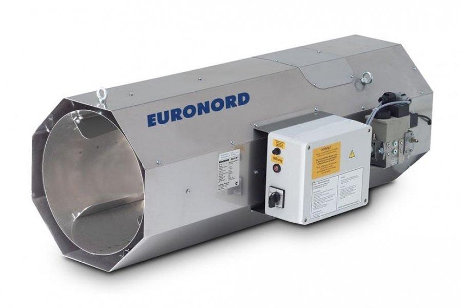 Тепловая пушка Euronord NG-L-80 NG &amp; LPGГазовые пушки<br>Германский производитель отопительного оборудования Euronord предлагает модель газовой тепловой пушки NG-L-80 NG   LPG. Этот оборудование при своей высокой мощности имеет довольно низкое потребление энергоносителя, благодаря чему является высокоэффективным и экономичным способом обогрева большого помещения. Низкая пожароопасность этого теплогенератора позволяет его устанавливать в помещениях любого, в том числе и складского, назначения без риска возгорания.<br>Особые преимущества Euronord NG L:<br><br>Подвесной монтаж<br>Высокий КПД<br>Работает на природном и баллонном газе<br>Высокое качество материалов и сборки<br>Автоматическая система зажигания<br>Равномерное распределение тепла<br>Низкая пожароопасность<br>Долгий период эксплуатации<br>Корпус из высококачественной стали<br>Экономичное потребление газа<br>Простота в обслуживании<br>Компактные размеры<br>Низкий уровень шума<br><br>Газовые пушки прямого нагрева Euronord NG L работают на природном и баллонном сжиженном газе. Конструкция их корпуса предусматривает подвесной вариант монтажа, благодаря чему удается сохранить максимум полезного пространства в рабочей области помещения. Высокая тепловая производительность и низкое потребление энергоносителя  позволяет быстро прогреть большое помещение, затратив при этом минимум ресурсов. Автоматическая система зажигания делает запуск оборудования быстрым и удобным. <br><br>Страна: Германия<br>Тип: Газовый<br>Мощность, кВт: 80<br>Площадь, м?: 800<br>Скорость потока м/с: None<br>Расход топлива, кг/час: 7,69/6,23<br>Расход воздуха, мsup3;/ч: 4100<br>Нагревательный элемент: Нет<br>Вместимость бака, л: None<br>Регулировка температуры: Нет<br>Вентиляция без нагрева: Нет<br>Настенный монтаж: Нет<br>Влагозащитный корпус: Нет<br>Напряжение, В: 220 В<br>Вилка: None<br>Размеры ВхШхГ, см: 41х115х56<br>Вес, кг: 45<br>Гарантия: 1 год