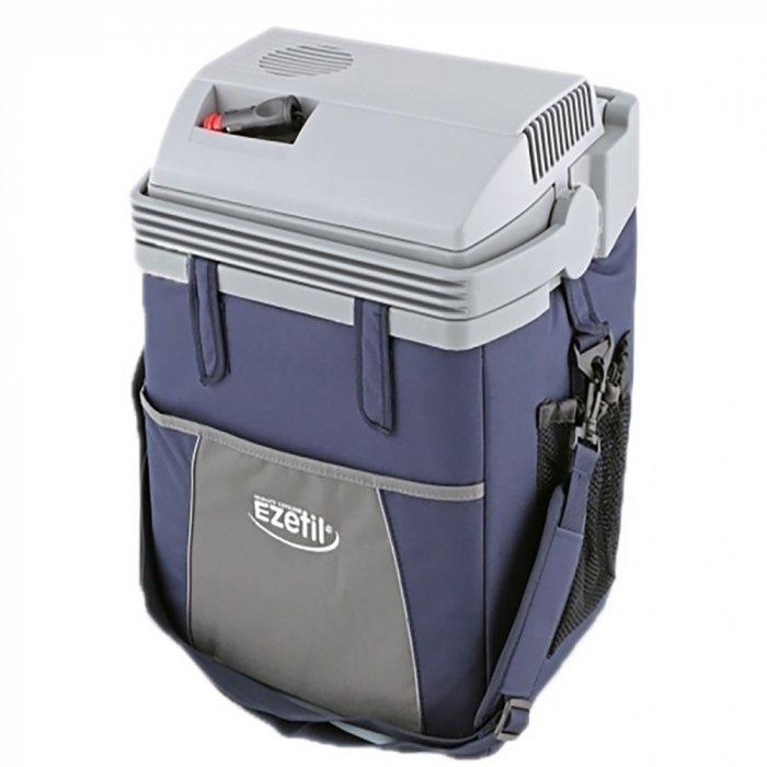 Термоэлектрический автохолодильник Ezetil ESC 21 12V11-20 литров<br>Автомобильный холодильник термоэлектрического типа ESC 21 12V от бренда Ezetil станет отличным выбором для тех, кто любит автопутешествия. Вместительная охлаждающая камера, скромное потребление электрической энергии, работа от бортовой сети автомобиля и прочным корпус из пластика в тканевом чехле   это далеко не полный список преимуществ представленной модели.<br>Особенности и преимущества термоэлектрических автохолодильников от компании Ezetil:<br><br>Температурные режимы работы: охлаждение;<br>Работа от бортовой сети автомобиля 12 вольт;<br>Отделка корпуса прочной, легко моющейся тканью с боковыми карманами-сетками;<br>Модель оснащена интеллектуальными система энергосбережения;<br>Автомобильный холодильник оснащен съемным плечевым ремнем;<br>Шнуры питания вмонтированы в специальный отсек на верхней части крышки.<br><br>Общее устройство автохолодильника:<br><br>Приточный вентилятор.<br>Алюминиевый радиатор охлаждения.<br>Внутренняя камера из экологичного пластика.<br>Внешний корпус из ударопрочного пластика.<br><br>Торговая марка Ezetil разработала линейку термоэлектрических автомобильных холодильников, которые, безусловно, понравятся всем любителям дальних поездок или пикников. С такими охлаждающими агрегатами продукты и напитки дольше сохранят свою свежесть, а вы сможете обеспечить себе полезный рацион даже в командировке. Среди преимуществ таких устройств стоит выделить настоящее немецкое качество, компактные размеры и небольшой вес, а также нормальную работоспособность агрегатов при любом наклоне транспортного средства. Семейство представлено множеством моделей, которые отличаются оснащенностью, питанием, конструкцией и, конечно, дизайном и цветовыми решениями.<br><br>Страна: Германия<br>Объем, л: 19,6<br>Мощность, Вт: None<br>Питание, В: 12<br>Max температура, C: None<br>Min температура, C: None<br>Функция подогрева: None<br>Дельта t, C: 18<br>Кабель питания: Есть<br>Назначение: Автохолодильни