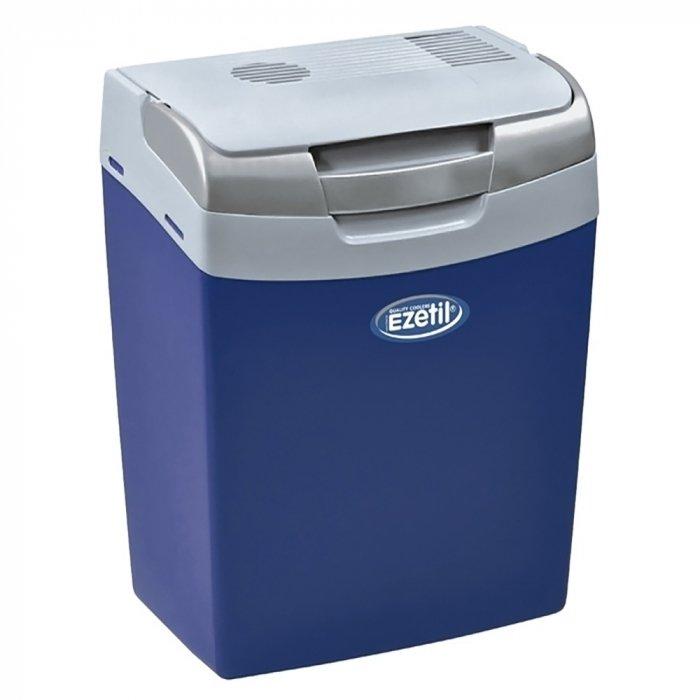 Термоэлектрический автохолодильник Ezetil E 16 12V11-20 литров<br>Автохолодильник модели E 16 12V от компании Ezetil отличается энергоэффективностью класса А, то есть обладает высоким КПД. Агрегат оснащен удобной интеллектуальной управляющей системой, которая может автоматически выбирать нужный режим охлаждения. Камера данного холодильника выполнена из пластика, который был допущен к контакту с пищевыми продуктами.<br>Особенности и преимущества термоэлектрических автохолодильников от компании Ezetil:<br><br>Температурные режимы работы: охлаждение;<br>Работа от бортовой сети автомобиля 12 вольт;<br>Наличие фиксатора закрытого положения на крышке исключает выпадение содержимого камеры, так же данная модель оснащена дополнительным фиксатором крышки в полуоткрытом положении;<br>Модель оснащена интеллектуальной системой энергосбережения;<br>Шнуры питания вмонтированы в специальный отсек в тыльной части крышки.<br><br>Общее устройство автохолодильника:<br><br>Приточный вентилятор.<br>Алюминиевый радиатор охлаждения.<br>Внутренняя камера из экологичного пластика.<br>Внешний корпус из ударопрочного пластика.<br><br>Торговая марка Ezetil разработала линейку термоэлектрических автомобильных холодильников, которые, безусловно, понравятся всем любителям дальних поездок или пикников. С такими охлаждающими агрегатами продукты и напитки дольше сохранят свою свежесть, а вы сможете обеспечить себе полезный рацион даже в командировке. Среди преимуществ таких устройств стоит выделить настоящее немецкое качество, компактные размеры и небольшой вес, а также нормальную работоспособность агрегатов при любом наклоне транспортного средства. Семейство представлено множеством моделей, которые отличаются оснащенностью, питанием, конструкцией и, конечно, дизайном и цветовыми решениями.<br><br>Страна: Германия<br>Объем, л: 16<br>Мощность, Вт: None<br>Питание, В: 12<br>Max температура, C: None<br>Min температура, C: None<br>Функция подогрева: None<br>Дельта t, C: 18<br>Кабель питания: Есть<br>Наз