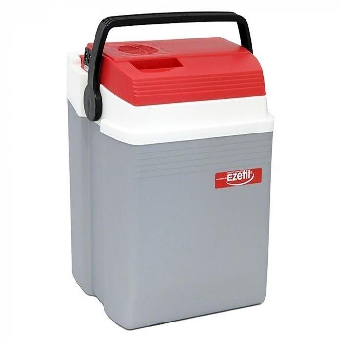 Термоэлектрический автохолодильник Ezetil E 28 12/230V21-30 литров<br>Удобный, легкий и компактный автомобильный холодильник термоэлектрического типа E 28 12/230V   это разработка торговой марки Ezetil. В арсенале преимуществ представленного агрегата двадцатисемилитровая камера с покрытием их пищевого пластика, эргономичная конструкция, экономичность и высокая эффективность. Также стоит отметить, что в холодильнике можно разместить не только продукты, на и напитки.<br>Особенности и преимущества термоэлектрических автохолодильников от компании Ezetil:<br><br>Работа от бортовой сети автомобиля 12 вольт, а так же от домашней сети 220 вольт;<br>Наличие фиксатора закрытого положения на крышке исключает выпадение содержимого камеры;<br>Модель оснащена интеллектуальной системой энергосбережения;<br>Шнуры питания вмонтированы в специальный отсек на верхней части крышки.<br><br>Общее устройство автохолодильника:<br><br>Приточный вентилятор.<br>Алюминиевый радиатор охлаждения.<br>Внутренняя камера из экологичного пластика.<br>Внешний корпус из ударопрочного пластика.<br><br>Торговая марка Ezetil разработала линейку термоэлектрических автомобильных холодильников, которые, безусловно, понравятся всем любителям дальних поездок или пикников. С такими охлаждающими агрегатами продукты и напитки дольше сохранят свою свежесть, а вы сможете обеспечить себе полезный рацион даже в командировке. Среди преимуществ таких устройств стоит выделить настоящее немецкое качество, компактные размеры и небольшой вес, а также нормальную работоспособность агрегатов при любом наклоне транспортного средства. Семейство представлено множеством моделей, которые отличаются оснащенностью, питанием, конструкцией и, конечно, дизайном и цветовыми решениями.<br><br>Страна: Германия<br>Объем, л: 28<br>Мощность, Вт: None<br>Питание, В: 12/220<br>Max температура, C: None<br>Min температура, C: None<br>Функция подогрева: None<br>Дельта t, C: 16<br>Кабель питания: Есть<br>Назначение: Автохолодильник<br>ГабаритыВШД,