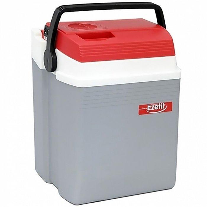 Термоэлектрический автохолодильник Ezetil E 28 12V21-30 литров<br>E 28 12V &amp;ndash; это портативный компактный автомобильный холодильник термоэлектрического типа от торговой марки Ezetil. Объем охлаждающей камеры холодильника составляет двадцать семь литров: этого более чем достаточно, чтобы разместить продукты для четырех персон, а также бутылку с напитком. Агрегат тихо работает, потребляет минимум электроэнергии, а питается от бортовой сети 12В.<br>Особенности и преимущества термоэлектрических автохолодильников от компании Ezetil:<br><br>Работа от бортовой сети автомобиля 12 вольт;<br>Наличие фиксатора закрытого положения на крышке исключает выпадение содержимого камеры;<br>Модель оснащена интеллектуальной системой энергосбережения;<br>Шнуры питания вмонтированы в специальный отсек на верхней части крышки.<br><br>Общее устройство автохолодильника:<br><br>Приточный вентилятор.<br>Алюминиевый радиатор охлаждения.<br>Внутренняя камера из экологичного пластика.<br>Внешний корпус из ударопрочного пластика.<br><br>Торговая марка Ezetil разработала линейку термоэлектрических автомобильных холодильников, которые, безусловно, понравятся всем любителям дальних поездок или пикников. С такими охлаждающими агрегатами продукты и напитки дольше сохранят свою свежесть, а вы сможете обеспечить себе полезный рацион даже в командировке. Среди преимуществ таких устройств стоит выделить настоящее немецкое качество, компактные размеры и небольшой вес, а также нормальную работоспособность агрегатов при любом наклоне транспортного средства. Семейство представлено множеством моделей, которые отличаются оснащенностью, питанием, конструкцией и, конечно, дизайном и цветовыми решениями.<br><br>Страна: Германия<br>Объем, л: 27<br>Мощность, Вт: None<br>Питание, В: 12<br>Max температура, C: None<br>Min температура, C: None<br>Функция подогрева: None<br>Дельта t, C: 16<br>Кабель питания: Есть<br>Назначение: Автохолодильник<br>ГабаритыВШД,мм: 430x290x390<br>Вес, кг: 4<br>Гарантия: 2 года