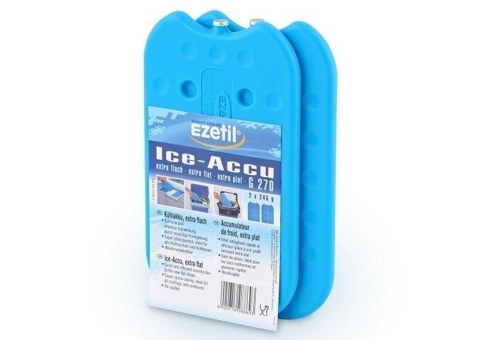 Аксессуар для автохолодильников Ezetil Ice Akku G 270 2x245 grАксессуары<br>Akku G 270 2x245 gr от компании Ezetil представляет собой пластиковый контейнер со специальным содержимым, которое аккумулирует холод. Аксессуар может использоваться множество раз, а его применение простое: аккумулятор нужно поместить в морозильную камеру, где изделие накопит холод. После этого в течение нескольких часов Akku G 270 2x245 gr сможет поддерживать низкую температуру в термоконтейнере.<br>Торговая марка Ezetil   это известный производитель из Германии холодильного оборудования для автомобилей. Компания разработала линейку аксессуаров для своих изделий, которые сделают эксплуатацию термоконтейнеров еще более комфортной. Ассортимент включает в себя разнообразные изделия: адаптеры, аккумуляторы холода, переходники и т.д.<br><br>Страна: Германия<br>Мощность, Вт: None<br>Ток вых., А: None<br>Напряжение вых., В: None<br>Напряжение вход., В: None<br>Питание, В: Нет<br>Габариты ВxШxД, мм: 215x23x120<br>Вес, кг: 1<br>Объем, л: None<br>Гарантия: Нет<br>Материал: Пластик