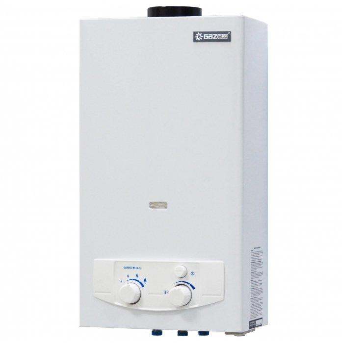 Водонагреватель Gazlux GAZECO W-10-С110-16 кВт<br>Gazlux GAZECO W-10-С1   это газовая колонка с открытой камерой сгорания. Прибор отличается высокой производительностью, имеет автоматический розжиг о батареек, плавно регулирует расход воды и газа.<br> <br>Основные особенности представленной модели:<br><br>Шестиступенчатая система автоматической защиты: погасание пламени, перегрев теплообменника, выход отходящих газов в помещение, защита от избыточного давления (предохранительный клапан 10 бар), горение при недостаточном расходе воды, неисправность системы контроля.<br>Автоматический розжиг от батареек (ресурс 1 год).<br>Надежный ионизационный контроль пламени.<br>Отсутствие постоянно горящего запального пламени.<br>Плавное регулирование мощности горелки (вручную).<br>Плавное регулирование расхода воды (вручную) в диапазоне от 2,5 до 10,0 л/мин.<br>Две модели: для сжиженного и природного газа.<br>Специально разработанная газовая арматура позволяет работать при низком давлении природного газа.<br>Адаптация к низкому давлению воды в водопроводе: необходимое минимальное давление воды на входе всего2,5 мвод. ст.<br>Высокая чувствительность: включение водонагревателя происходит при расходе воды 3,5 л/мин.<br>Сетчатый фильтр на входе водопровода и газа.<br>У модели для сжиженного газа предусмотрена дополнительная возможность экономии газа при помощи двухступенчатого ограничителя максимальной мощности горелки ЗИМА/ЛЕТО.<br>Небольшая мощность и возможность работы на сжиженном газе позволяют применять эту модель с газобаллонными установками как решение для комфортного ГВС на даче.<br><br> <br>Линейка проточных газовых водонагревателей Gazlux GAZECO отличается современным дизайном и сравнительно небольшими размерами. Данное оборудование было разработано специально для эксплуатации в российских условиях, а это значит, что приборы качественные и долговечные.<br><br><br>Страна: Россия<br>Производитель: Китай<br>Способ нагрева: Газовый<br>Производительность: 10<br>Темп. нагрева, С