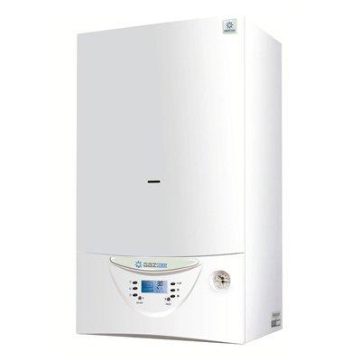 Котел Gazlux GAZECO - 24-T218 кВт<br> <br>Настенный газовый котел Gazlux GAZECO-24-Т2 класса Standard   эффективное решение, если Вам нужен экономный прибор для отопления и приготовления горячей воды.<br>Его мощность позволяет отапливать помещения общей площадью до 240 м2. При этом котлы этой производственной линейки разработаны с учетом российского опыта поквартирных отопительных систем в многоэтажных домах.<br>Производительность горячей воды достигает 11 литров в минуту при температуре 25  С и позволяет одновременно обслуживать до двух водоразборных точек.<br>Минимальный уровень давления газа, необходимый для стабильной работы прибора, составляет 3 мбар, что существенно важно с учетом реалий российского газоснабжения.<br>Минимально давление воды в водопроводе, достаточное для запуска системы горячего водоснабжения   2 м. вод. ст.<br>Два теплообменника для системы отопления и приготовления горячей воды позволяют независимо использовать оба контура по отдельности.<br>Широкий диапазон модуляции котла предусматривает постоянное автоматическое регулирование мощности от min до max, что позволяет стабильно с высокой точностью поддерживать заданную Вами температуру в помещении, а также температуру подаваемой горячей воды, на постоянно заданном уровне. Это, в свою очередь, не только избавляет Вас от неудобств, связанных с температурными колебаниями и необходимостью постоянно корректировать климатический режим, но и позволяет оптимизировать расход газа.<br>Простой, интуитивно понятный пользовательский интерфейс позволяет управлять прибором с легкостью и комфортом.<br>Автоматический электронный розжиг горелки позволяет запускать котел без дополнительных источников огня, а также избавляет Вас от необходимости зажигать грелку вручную.<br>Контроль горения пламени обеспечивает Вашу безопасность, а также оптимизирует работу горелки.<br>Интегрированная система безопасности и самодиагностики, автоматически отключающая подачу газа при погасании пламени; нарушении отвода отработанных