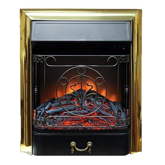 Очаг электрокамина Glenrich Magestic brassОчаги классические<br>Модель электрического камина Glenrich (Гленрич) Magestic brass отличается современным эргономичным дизайном, поэтому хорошо впишется в интерьер дома или офиса. Прибор компактен и при этом эффективно обогревает помещение, создавая в нем комфортный микроклимат. Конструкция оснащена объемным топочным зеркалом, поэтому очень явно воссоздает картинку искрящегося пламени..<br>Особенности рассматриваемой модели электротопки Glenrich:<br><br>Электрокамин встраиваемый. Электротопка может быть встроена в нишу в стене, а также в портал.<br>Электрокамин имеет стильный современный дизайн.<br>Электрокамин имеет очень яркий эффект горения дров в очаге.<br>Имеется пульт ДУ в комплекте, регулировку яркости пламени и внутреннюю подсветку дров. <br>Электрокамин имеет многоступенчатую систему обогрева 750-1500 Вт, в декоративном режиме потребляемая мощность 80 вт.<br><br>Электроочаги от компании Glenrich безопасны в эксплуатации и экономичны в общем содержании.  Конструкции быстро монтируются и способны работать в нескольких режимах, поэтому могут быть использованы как дополнительные или основные источники отопления. Очаги выполнены в утонченном современном дизайне, поэтому привносят в интерьер помещений уют, величественность и элегантность.<br> <br> <br><br>Страна: Россия<br>Мощность, кВт: 1,5<br>Пламя Optiflame: None<br>Эффект топлива: Угли<br>Фильтр очистки воздуха: Нет<br>Обогреватель: Есть<br>Цвет рамки: Черный<br>Потрескивание: Нет<br>Пульт: Есть<br>Дисплей: Нет<br>Тип камина: Электрический<br>ГабаритыВШГ,мм: 606x497x245<br>Гарантия: 1 год<br>Вес, кг: 14