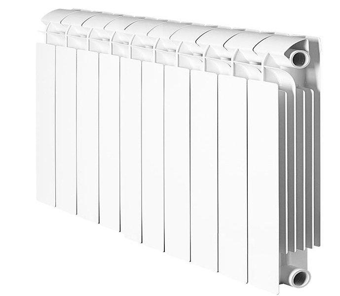 Радиатор отопления Global Style Plus 500 10 секц.Биметаллические<br>Полностью биметаллический радиатор Global (Глобал) Style Plus 500 10 секц. отличается наличием как горизонтальных, так и вертикальных стальных внутренних каналов, по которым протекает теплоноситель, не контактируя с внешней алюминиевой оболочкой, обеспечивающей высокую теплоотдачу. Стальные коллектора соединены с помощью сварки, на них под давлением наплавлен алюминиевый кожух, а секции радиатора надежно соединены ниппелями и силиконовыми прокладками.<br>Особенности секционного радиатора отопления серии Global Style Plus 500:<br><br>Биметаллический секционный радиатор<br>Неразборная конструкция со стальным коллектором<br>Подходит для работы с любым типом теплоносителя: вода, атифриз, пар, масло<br>Межосевое расстояние500 мм<br>Высокая степень надёжности<br>рабочее давление - до 3,5 МПа (35 атм.)<br>давление при гидравлических испытаниях - до 5,25 МПа (52,5 атм.)<br>разрушающее давление - свыше 6,2 МПа (62 атм.)<br>температура теплоносителя - до 110 С<br>показатель pH теплоносителя - от 7 до 9,5<br>срок службы - не менее 10 лет с даты производства при условии соблюдения инструкций по установке радиаторов и условий их эксплуатации<br>сфера применения - административные, производственные и жилые здания любой этажности<br>Настенный вариант установки<br>Стильный современный облик<br>100% эффективность обогрева<br>Для оптимальной теплоотдачи расстояние между радиатором и полом должно быть больше 100 мм, между радиатором и подоконником не менее 100мм и до стены не должно быть болнее 30 мм<br>Жесткий контроль качества на производстве.<br><br> Global Style Plus 500    это серия невероятно стильных, изящных, надежных и практичных радиаторов отопления от одного из самых популярных производителей из Италии. Все модели состоят из секций, на выбор представлены приборы с набором секций от 4 до 12. Настенный вариант установки отличается крайней легкостью. Стоит отметить, что внешний облик изделий придется по вкусу 