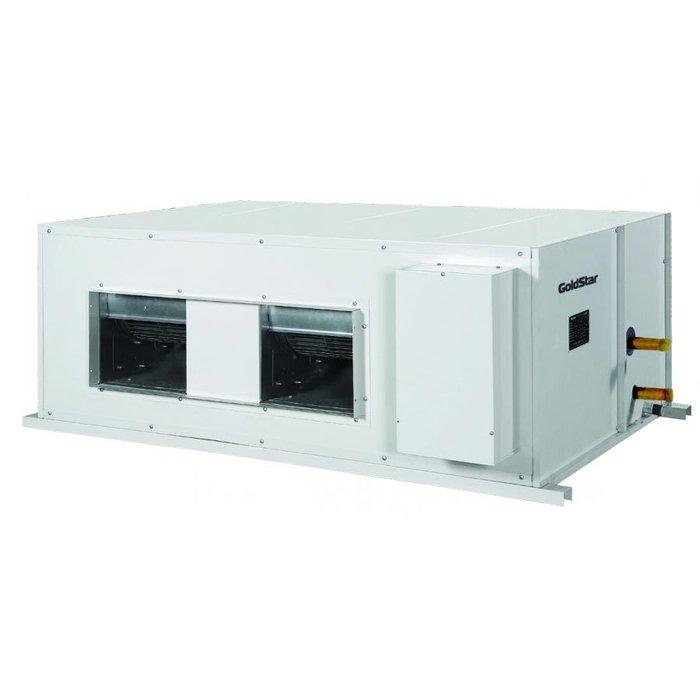 Канальный кондиционер GoldStar GSFR-25/N1A17 кВт - 60 BTU<br>Высокомощный канальный кондиционер Goldstar (Голдстар) GSFR-25/N1A используется для обслуживания больших территорией и имеет широкую и современную функциональную комплектацию, благодаря которой эксплуатация данного оборудования происходит безопасно и максимально комфортно для пользователей, а также в процессе работы кондиционер максимально эффективно потребляет электроэнергию.<br>Особенности и преимущества кондиционеров Goldstar представленной серии:<br><br>Эффективное осушение<br>Автоматическая работа<br>Интеллектуальная разморозка<br>Самодиагностика<br>Авторестарт<br>Очистка воздуха<br>Таймер<br>Приток свежего воздуха<br> Теплый  старт<br><br>Полупромышленные кондиционеры от Goldstar серии Universal идеально подходят для использования в российском климате и могут эффективно и безопасно работать в течение всего года. В представленной серии представлены высокомощные внутренние блоки трех типов, каждый из которых подходит для подключения к совпадающему по производительности наружному блоку. <br><br>Страна: Китай<br>Охлаждение, кВт: 25.0<br>Обогрев, кВт: 27.5<br>Компрессор: Не инвертор<br>Площадь, м?: 250<br>Потребляемая мощность охлаждения, Квт: 9.8<br>Потребляемая мощность обогрева, Квт: 9.0<br>Воздухообмен, мsup3;/ч: 4800<br>Габариты внеш. блока ВШГ: 1600х1150х360<br>Осушение, л/час: None<br>Габариты внут. блока, ВШГ: 500х1500х1000<br>Уровень шума внеш/внутр.б., Дба: 61/55<br>Вес внеш. блока, Кг: 185<br>Вес внутр. блока, Кг: 150<br>Длина трассы, м: 50<br>Режимы работы: Холод / тепло<br>Режим приточной вентиляции: Есть<br>Сенсор движения: Нет<br>Фильтры тонкой очистки воздуха: Нет<br>Гарантия: 4 года