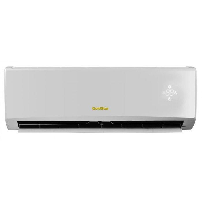 Настенный кондиционер GoldStar GSWH07-NL1A20 м? - 2 кВт<br>Gold Star (Голд Стар) GSWH07-NL1A   это современная система кондиционирования бытового назначения, которая может стать удачным выбором для современных потребителей, ценящих комфорт и эффективные решения. Рассматриваемая модель может быть названа климатическим оборудованием из премиум-сегмента благодаря элегантному дизайнерскому решению и достойным техническим характеристикам.<br>Основные достоинства рассматриваемой модели настенной сплит-системы:<br><br>Компактный дизайн<br>Многоскоростной вентилятор<br>ЖК-дисплей<br>Объемный воздушный поток<br>Автоматическая работа<br>Интеллектуальная разморозка<br>Эффективное осушение<br>Авторестарт<br>Самодиагностика<br> Холодная  плазма<br>Бесшумная работа<br>Функция  I Feel <br>Ночной режим<br> Теплый  старт<br>Режим  Турбо <br>Таймер<br>Блокировка пульта<br>Озонобезопасный хладагент<br>Очистка воздуха<br><br>GoldStar Charm   это серия настенных сплит-систем, которые работают не только в режиме охлаждения, но и в режиме обогрева, что позволяет с удобством пользоваться данным климатическим оборудованием не только в летнее время. Модели из серии имеют весь необходимый для современных кондиционеров функционал: ночной и турбо режим работы, 24-часовой таймер, функцию авторестарт и  Ifeel .  <br><br>Горизонтальная регулировка потока: Нет<br>Страна бренда: Корея<br>Уровень шума, дБа: 50<br>Габариты ВхШхГ, см: 72x42,8x31<br>Производитель: Корея<br>Площадь, м?: 20<br>Вес, кг: 23<br>Компрессор: Не инвертор<br>Режим работы: холод/тепло<br>Уровень шума, дБа: 26<br>Охлаждение, кВт: 2,2<br>Габариты ВхШхГ, см: 71,3x27x19,5<br>Обогрев, кВт: 2,4<br>Потребление при охлаждении, кВт: 0,685<br>Вес, кг: 9<br>Потребление при обогреве, кВт: 0,664<br>Охлаждающая способность, тыс. BTU: 7<br>Диапазон t на охлаждение, С: +18...+43<br>Диапазон t на обогрев, С: 7...+24<br>Расход воздуха, м3/ч: 470<br>Хладагент: R410A<br>Max длина трассы, м: 15<br>диаметр газовой трубы, дюйм: 3/8<br>диаметр жидкостно