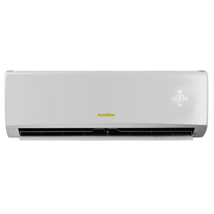 Настенный кондиционер GoldStar GSWH09-DL1A25 м? - 2.6 кВт<br>Лаконичная и комфортная в использовании система кондиционирования Gold Star (Голд Стар) GSWH09-DL1A &amp;mdash; это разработка надежной производственной компании, которая ценит комфорт своих потребителей и создает действительно удобное и эффективное климатическое оборудование. Лицевая панель имеет эргономичное исполнение, предусмотрен дисплей &amp;laquo;скрытого&amp;raquo; типа.<br>Основные достоинства рассматриваемой модели настенной сплит-системы:<br><br>Инверторное управление мощностью<br>Компактный дизайн<br>Многоскоростной вентилятор<br>ЖК-дисплей<br>Объемный воздушный поток<br>Автоматическая работа<br>Интеллектуальная разморозка<br>Эффективное осушение<br>Авторестарт<br>Самодиагностика<br>&amp;ldquo;Холодная&amp;rdquo; плазма<br>Бесшумная работа<br>Функция &amp;ldquo;I Feel&amp;ldquo;<br>Ночной режим<br>&amp;ldquo;Теплый&amp;rdquo; старт<br>Режим &amp;ldquo;Турбо&amp;rdquo;<br>Таймер<br>Блокировка пульта<br>Озонобезопасный хладагент<br>Очистка воздуха<br><br>Самая стильная линейка настенных систем кондиционирования воздуха GoldStar Charm Inverter была разработана надежной производственной компанией, которая беспокоится о комфорте своих потребителей и создает действительно надежное и эффективное оборудование для поддержания в доме максимально комфортных и благоприятных для самочувствия климатических условий.<br><br>Уровень шума, дБа: 51<br>Страна бренда: Корея<br>Горизонтальная регулировка потока: Нет<br>Габариты ВхШхГ, см: 77,6x54x32<br>Производитель: Корея<br>Компрессор: Инвертор<br>Вес, кг: 26<br>Площадь, м?: 25<br>Уровень шума, дБа: 22<br>Режим работы: холод/тепло<br>Габариты ВхШхГ, см: 79x27,5x20<br>Вес, кг: 9<br>Охлаждение, кВт: 2,5<br>Обогрев, кВт: 2,8<br>Потребление при охлаждении, кВт: 0,780<br>Потребление при обогреве, кВт: 0,725<br>Охлаждающая способность, тыс. BTU: 9<br>Диапазон t на охлаждение, С: 15...+48<br>Диапазон t на обогрев, С: 15...+24<br>Расход воздуха, м3/ч: 480<br>Хладагент: R4