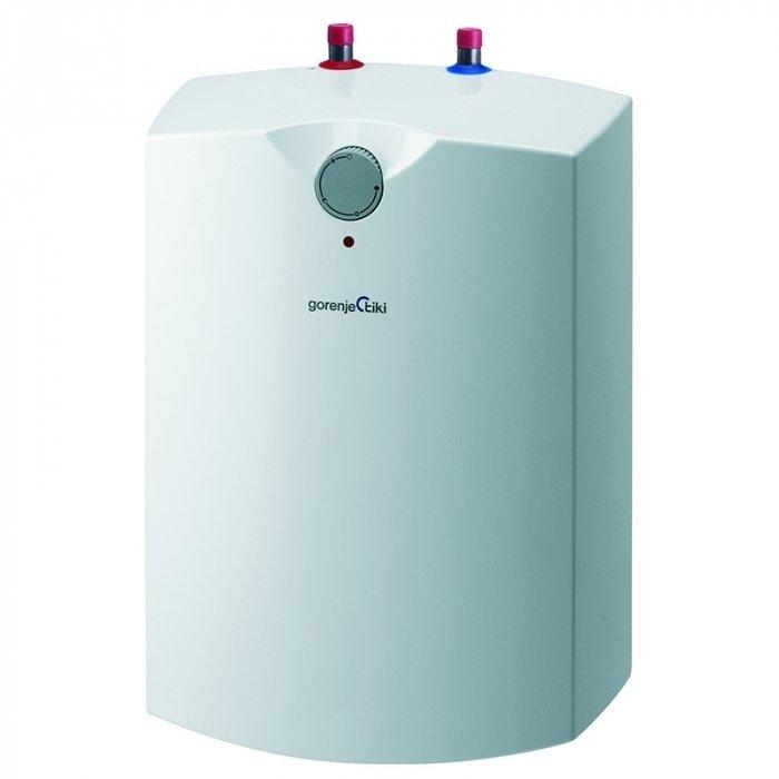Электрический накопительный водонагреватель Gorenje GT 10 U/V615 литров<br>Компактный накопительный электрический водонагрвеатель Gorenje GT 10 U/V6 предназначен для установки под раковиной. На панеле прибора имеется специальный индикатор функциональных возможностей встроенного нагревательного элемента. Представленное оборудование отлично справляется с раздачей горячей воды на несколько водоразборных точек. Широкий диапазон регулирования температурного режима, который позволит нагреть воду до 75 градусов. <br>Основные характеристики представленной модели:<br><br>Малолитражные напорные накопительные бойлеры (объем 5, 10 и 15 литров);<br>Монтаж в непосредственной близости от раковины (под или над раковиной);<br>Компактные размеры;<br>Может подключаться к двум водоразборным точкам;<br>В процессе подключения устройства как напорного необходимо применить предохранительный клапан;<br>Накопительный бак из стали, покрытый эмалью;<br>Защита от коррозии   предусмотрен магниевый анод;<br>Механическое управление;<br>Имеется индикатор работы ТЭНа;<br>2 режима работы    экономный  и  защита от замерзания ;<br>Изолированное исполнение фланца;<br>Хорошая теплоизоляция (28-40 мм).<br><br>Малолитражные водонагреватели накопительного типа востребованы в помещениях, где не требуется большое количество горячей воды (например, такого водонагревателя будет достаточно для установки на кухне, чтобы вымыть посуду). К тому же, благодаря небольшому объему бака оборудование имеет компактные размеры, его можно легко расположить под раковиной (скрытая установка). Водонагреватели данной серии часто используются при реконструкции старых зданий, а также в зданиях и помещениях различного назначения. Бойлер серии GT обладает прекрасными характеристиками   имеет мощный ТЭН, механическое управление, нагревает воду до температуры +75 С, обладает хорошей теплоизоляцией (а благодаря установки вблизи раковины теплопотери через трубы сведены к минимуму).<br><br> <br> <br><br>Страна: Словения<br>Производитель