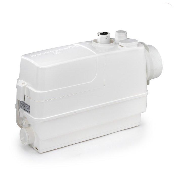 Канализационная установка Grundfos Sololift2 CWC-3Канализационные установки<br>Grundfos (Грундфос) Sololift2 CWC-3 представляет собой канализационную установку поверхностного типа, способную производительно работать даже с грязной водой с максимальной температурой +50 градусов. Данное устройство предусмотрительно оборудовано тремя выходами для подключения и предназначено для отвода стоков от унитаза, умывальника и душевой кабины.<br>Особенности и преимущества канализационных установок Grundfos представленной серии:<br><br>Насосное решение упрощающее установку;<br>Наличие инструкции по установке;<br>Самая высокая надёжность благодаря высоким эксплуатационным характеристикам режущего элемента и двигателя;<br>Быстрое, простое и чистое сервисное обслуживание &amp;ndash; не нужно снимать агрегат с места установки;<br>Сухое исполнение двигателя и всех соответствующих обслуживаемых деталей делает ремонтные работы и техобслуживание простым и чистым;<br>Простой доступ к реле контроля уровня, доступ для технического обслуживания;<br>Герметичная система со сварным баком, отсутствие протечек в случае обратного течения;<br>Отсутствие неприятных запахов благодаря выпускному клапану и угольному фильтру;<br>Не требующая технического обслуживания конструкция бака снижает риск образования осадка и засорения;<br>Установка обладает стойкостью горячей воде до 90 &amp;deg;C в течение 30 минут;<br>Сверхкомпактная конструкция;<br>Низкие уровни пуска позволяют установить современные плоские душевые поддоны;<br>Возможность выбора направления выпускного отверстия (вверх и в сторону);<br>Простая установка и замена впускных соединительных патрубков с регулируемой высотой;<br>Возможность выбора до 4 впускных патрубков и 6 напорных трубных соединений;<br>Все установки одобрены по стандартам LGA, VDE, EMC, GOST.<br><br>SOLOLIFT2 &amp;ndash; это семейство передовых насосных установок для канализации, разработанное торговой маркой Grundfos. Такие предназначены для облегчения слива воды с различного 
