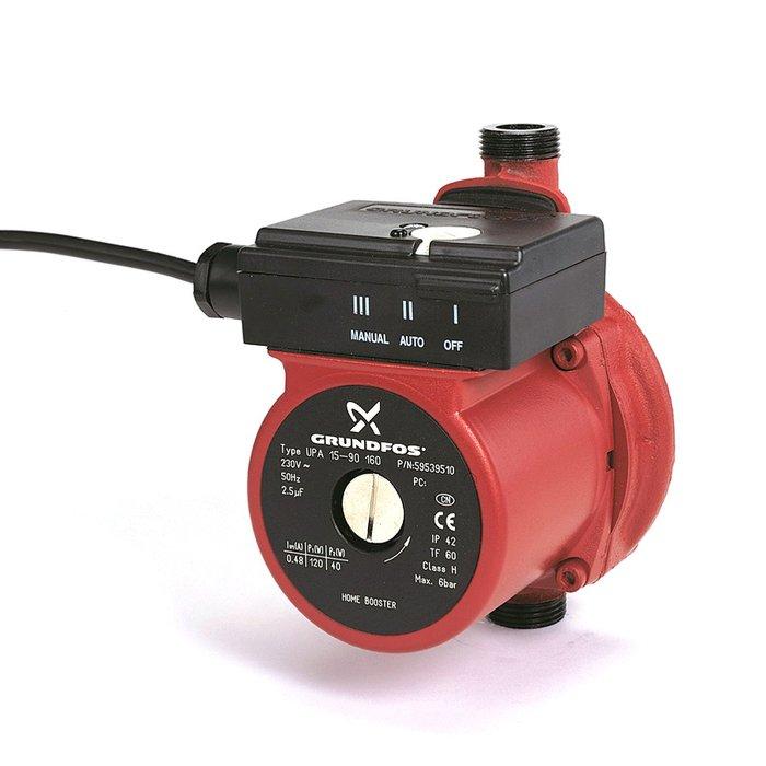 Циркуляционный насос Grundfos UPA15-90 160 1x230V 50Hz 12H RUПовысительные насосы<br>Grundfos (Грундфос) UPA15-90 160 1x230V 50Hz 12H RU представляется собой насос небольшого размера, разработанный для небольшого повышения давления в водопроводе. Агрегат оснащен электрическим двигателем с повышенным ресурсом работы, который отделен от статора специально металлической гильзой. Использование насоса удобно и отличается совершенной безопасностью.<br>Особенности и преимущества повысительных насосов Grundfos представленной серии:<br><br>Повышение давления воды в квартире или доме<br>Перед входом в проточный водонагреватель, газовую колонку, стиральную или посудомоечную машину<br>Для повышения напора воды в душе и в других точках водозабора.<br>Компактный, небольшие габариты и вес.<br>Низкий уровень шума.<br>Установка непосредственно на трубопроводе.<br>Бессальниковый насос с датчиком протока, изготовленным из нержавеющей стали.<br>Внутреннее антикоррозийное покрытие.<br>Небольшая электрическая мощность.<br>Защита от &amp;laquo;сухого хода&amp;raquo;.<br>Обратите внимание: Минимальное давление на всасывающем патрубке должно быть не менее 0,2 бара.<br>Эргономичная конструкция.<br>Простой монтаж.<br>Длительный срок эксплуатации.<br>Надежность и функциональность, комфорт и безопасность.<br><br>UPA от торговой марки Grundfos представляет собой серию бессальниковых насосов, предназначенных для эффективного небольшого повышения давления в водопроводах различного назначения. Насосы имеют управление с удобного помощью переключателя, расположенного на коробке с клеммами. Среди отличительных особенностей &amp;ndash; достаточно компактные габариты и небольшой вес, благодаря чему агрегаты могут располагаться непосредственно на трубопроводах. В интернет-магазине mircli.ru повысительные насосы Grundfos представлены в широком ассортименте по конкурентоспособной цене.<br><br>Страна: Дания<br>Производитель: Дания<br>Производительность, л/мин: 25<br>диаметр подсоединения, дюйм: 3/4<br>Монта
