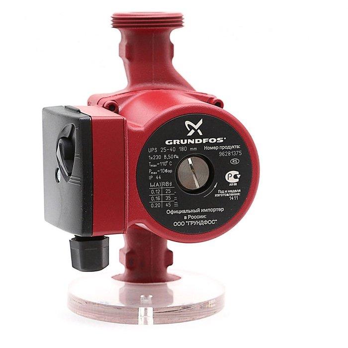 Циркуляционный насос Grundfos UPS25-40 180 1x230V 50Hz 9HНасосы для отопления<br>Насос для циркуляции Grundfos  (Грундфос ) UPS25-40 180 1x230V 50Hz 9H   это современное оборудование, предназначенное для организации систем отопления помещений и ГВС. Рассматриваемая модель  потребляет минимум электроэнергии, но при этом отличается высокой эффективностью и стабильностью в работе. Корпус насоса изготовлен из чугуна, вал   из керамики.<br>Особенности и преимущества циркуляционных насосов Grundfos представленной серии:<br><br>Подходят для использования в системах горячего водоснабжения:<br><br>Однотрубные и двухтрубные системы отопления;<br>Основные насосы;<br>Зональные насосы;<br>Котельные насосы с параллельным всасыванием;<br>Насосы для отопительных поверхностей;<br>Водонагреватели;<br>Системы отопления тёплый пол;<br>Системы солнечного отопления;<br>Теплонасосные системы;<br>Геотермальные системы теплоснабжения;<br>Системы рекуперации тепла;<br>Двухтрубные системы кондиционирования воздуха;<br>Насосы для холодильных установок.<br>Не требуют технического обслуживания.<br>Низкий уровень шума.<br>Низкое энергопотребление.<br>Широкий спектр моделей.<br>Имеются варианты с корпусами из коррозионно-стойкой бронзы.<br>Широкий ассортимент принадлежностей.<br><br><br><br>Торговая марка Grundfos    известный производитель насосного оборудования, родом из Дании. Бренд разработал семейство передовых циркуляционных насосов, которые могут применяться в широком спектре систем водоснабжения. Модельный ряд весьма разнообразен и представлен несколькими модификациями. UPS разработаны для работы с системами отопления и различными системами кондиционирования. ALPHA2 - технологичные насосы, также предназначенные для систем отопления, но имеющие обособленность -  приборы оборудованы специальными автоматическими комплектующими, которые регулируют перепады давления. UP   насосное оборудование для работы с системами горячего водоснабжения. В интернет-магазине mircli.ru циркуляционные насосы Gru