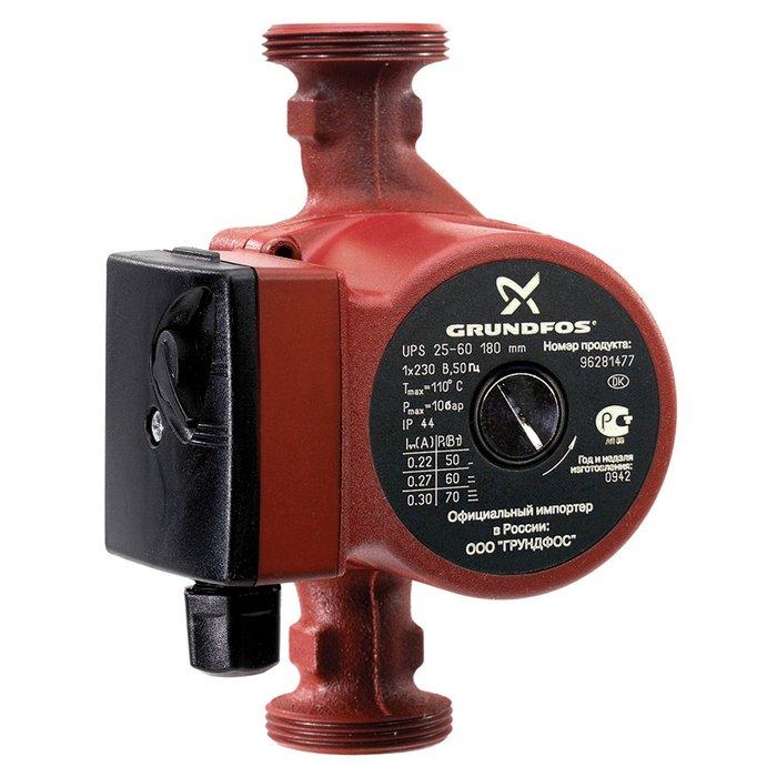 Циркуляционный насос Grundfos UPS25-60 180 1x230V 50Hz 9HНасосы для отопления<br>Циркуляционный насос &amp;laquo;Grundfos&amp;nbsp; (Грундфос ) UPS25-60 180 1x230V 50Hz 9H&amp;raquo; &amp;ndash; идеальный помощник в создании системы отопления помещений. Модель предназначена для перекачивания жидкости. Материал изготовления корпуса &amp;ndash; чугун с защитным покрытием, что гарантирует длительный срок службы. Предусмотрено три ступени регулировки мощности, для чего прибор оснащен специальным рычагом.&amp;nbsp;<br>Особенности и преимущества циркуляционных насосов Grundfos представленной серии:<br><br>Подходят для использования в системах горячего водоснабжения:<br><br>Однотрубные и двухтрубные системы отопления;<br>Основные насосы;<br>Зональные насосы;<br>Котельные насосы с параллельным всасыванием;<br>Насосы для отопительных поверхностей;<br>Водонагреватели;<br>Системы отопления тёплый пол;<br>Системы солнечного отопления;<br>Теплонасосные системы;<br>Геотермальные системы теплоснабжения;<br>Системы рекуперации тепла;<br>Двухтрубные системы кондиционирования воздуха;<br>Насосы для холодильных установок.<br>Не требуют технического обслуживания.<br>Низкий уровень шума.<br>Низкое энергопотребление.<br>Широкий спектр моделей.<br>Имеются варианты с корпусами из коррозионно-стойкой бронзы.<br>Широкий ассортимент принадлежностей.<br><br><br><br>Торговая марка Grundfos&amp;nbsp; &amp;ndash; известный производитель насосного оборудования, родом из Дании. Бренд разработал семейство передовых циркуляционных насосов, которые могут применяться в широком спектре систем водоснабжения. Модельный ряд весьма разнообразен и представлен несколькими модификациями. UPS разработаны для работы с системами отопления и различными системами кондиционирования. ALPHA2 - технологичные насосы, также предназначенные для систем отопления, но имеющие обособленность -&amp;nbsp; приборы оборудованы специальными автоматическими комплектующими, которые регулируют перепады давления. UP &amp;ndash; насосн