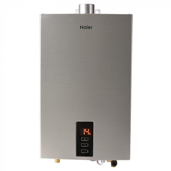Водонагреватель Haier JSQ24-PR(12T)21-27 кВт<br>Водонагреватель модели Haier (Хаер) JSQ24-PR(12T) представляет собой эргономичную, безопасную и удобную в использовании газовую горелку, также отличающуюся особой экономичностью. Благодаря компактности корпуса данное изделие размещается с большим комфортом, не занимает много места, а его стильный дизайн удачно вписывается в любой современный интерьер.<br>Особенности и преимущества водонагревателей Haier представленной серии:<br><br>Принудительная система дымоудаления<br>Автоматическая модуляция пламени<br>Легкий старт при низком давлении воды<br>Защита от перепадов давления<br>Защита от перепадов температуры<br>Защита от срыва пламени<br>Широкий диапазон модуляции<br>Горелка из нержавеющей стали<br>Информативный дисплей<br>Дымоход DN60 (идет в комплекте с водонагревателем)<br>Удобные подключения газа и ГВС<br>Питание от сети - 220 V<br><br>JSQ от Haier   это новейшая серия проточных настенных водонагревателей из нержавеющей прочной стали, предназначенных для использования в бытовых условиях. Современное электронное управление, представленное в каждой модели рассматриваемой линейки, обеспечивает наилучшую точность нагрева, а также делает колонки более удобными и безопасными для использования. <br><br>Страна: Китай<br>Производитель: Китай<br>Способ нагрева: Газовый<br>Производительность: 12,0<br>Темп. нагрева, С: 80<br>Давление на входе: 1320<br>Мощность, кВт: 24,0<br>Тип камеры: Закрытая<br>Дисплей: Да<br>Защита: от перепадов давления; от перепадов температуры; от срыва пламени<br>Установка: Настенная<br>Розжиг: Электророзжиг<br>Теплообменник: Медный<br>Модуляция мощности: Да<br>Габариты ШхВхГ, см: 32x54x14<br>Вес, кг: 13<br>Гарантия: 2 года<br>Ширина мм: 320<br>Высота мм: 540<br>Глубина мм: 140