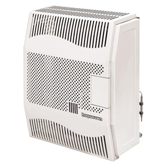 Газовый конвектор HossevenКонвекторы газовые<br>Hosseven HDU-5V Fan   это оборудованный вентилятором конвектор, использующий газ для обеспечения работы. Агрегат имеет встроенный теплообменник, выполненный из стали, конструкция которого выполнена с оребрениями. Это значительно увеличивает площадь, отдающую тепло, а значит, и существенно повышает эффективность работы представленного отопительного прибора.  <br>Основные характеристики представленной модели:<br><br>Нагревает сразу воздух, а не теплоноситель - быстрый прогрев помещения и минимум потерь тепла (КПД 89%).<br>Быстрая регулировка температуры.<br>Не сжигает кислород, продукты горения удаляются через коаксиальную трубу.<br>Удобное управление: электронный (от батарейки стандартного размера АА) розжиг, регулятор температуры.<br>Закрытый цикл горения делает конвектор абсолютно безопасным для здоровья.<br>Имеет эстетичный внешний вид и компактные размеры.<br>Прибор работает почти бесшумно.<br>Возможность работы от баллона со сжиженным газом.<br>Не требует трубной разводки, поэтому исключены промерзания системы.<br>Установить конвектор проще и легче, чем водяную систему отопления.<br>Стальной теплообменник.<br>Возможность установки комнатной температуры в диапазоне 13оC   38оC.<br>Телескопический газоотвод входит в комплект поставки.<br>Газовый клапан Sit (Италия).<br>Современный дизайн.<br><br><br>Оптимальная мощность и привлекательный дизайн делают приборы представленной линейки весьма популярными среди пользователей. Оборудование может использоваться для отопления дач, загородных домов, коттеджей, технических и других помещений. Благодаря использованию закрытой камеры сгорания из стали приборы представленного семейства не забирают воздух из обслуживаемого помещения и не влияют на его качество. Стоит упомянуть, что в стандартную комплектацию приборов входит комплект для коаксиального дымохода и перехода на сжиженный газ. Благодаря этому прибор может работать как на магистральном природном газе, так и на баллоном, 