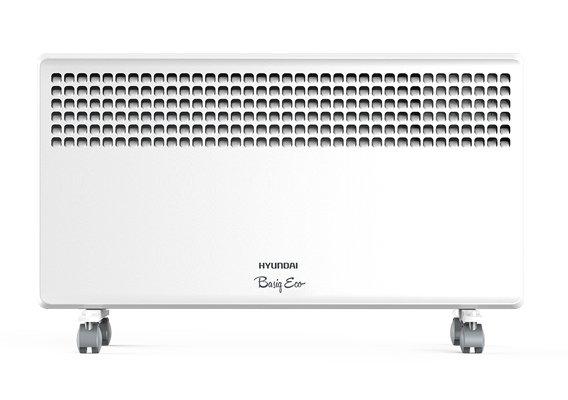 Конвектор электрический Hyundai H-HV5-15-UI61015 м? - 1.5 кВт<br>Предназначенный для дополнительного или основного типа обогрева электрообогреватель Hyundai (Хендай) H-HV5-15-UI610 располагает качественным нагревательным элементом. Устройство работает по принципу конвекции воздуха   это означает, что снизу в конвектор поступает холодный воздух, а на выходе из верхних отверстий прибора воздух становиться теплой, комфортной температуры.<br>Особенности и преимущества электрических конвекторов Hyundai серии Basiq Eco:<br><br>Технология объемной тепловой волны<br>СТИЧ-нагревательный элемент<br>Две ступени мощности нагревательного элемента (кроме модели 1000 Вт)<br>Простое интуитивное управление<br>Высококачественный термостат на основе медного сплава<br>Компактный французский типоразмер<br>Настенная и напольная установка<br>Датчик защиты от перегрева<br>Класс влагозащиты IP24.<br>Компактные габариты.<br><br><br>Подбирая обогреватель, важно выбрать модель, которая наиболее оптимально подойдет для конкретного помещения. От этого будет зависеть эффективность работы прибора, его энергопотребление, а также степень комфорта, которую сможет обеспечить агрегат. Серия электрических конвекторов Basiq Eco, разработанная компанией Hyundai, станет отличным выбором для гостиных и спален, детских комнат и кабинетов, кухонь и закрытых лоджий. Семейство представлено приборами мощностью от 1,0 кВт до 2,0 кВт   соответственно, легко справится с задачей обогрева помещений, площадью в среднем от десяти до двадцати квадратных метров. Все агрегаты серии могут быть установлены на полу или закреплены на стене, а их корпус надежно защищен от попадания пыли и влаги. Интернет-магазин mircli.ru электрические конвекторы Hyundai реализует по весьма демократичной цене. В нашем онлайн-каталоге посетители найдут широкий ассортимент приборов, как уже проверенных временем, так и новинок рынка.<br><br>Страна: Корея<br>Производитель: Китай<br>Mощность, Вт: 1500<br>Площадь, м?: 20<br>Класс защиты: IP24<br>Нас