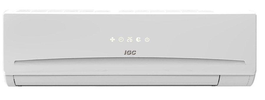 Настенный кондиционер IGC RAS/RAC-24NHG70 м? - 7 кВт<br>IGC RAS/RAC-24NHG   это современный кондиционер, оснащенный множеством полезных функций. Например, такое устройство может с легкостью заменить вентилятор, осушитель, очиститель и ионизатор воздуха. Модель максимально точно поддерживает заданные пользователем параметры и плавно и равномерно распределяет воздух внутри комнаты. Кондиционер комплектуется качественным пультом ДУ.<br>Особенности рассматриваемой модели настенного кондиционера серии Comfort:<br><br>Новинка сезона!<br>Энергоэффективность класса А.<br>Быстрое охлаждение воздуха в помещении.<br>Ионизация воздуха.<br>2 фильтра очистки.<br>Интеллектуальное размораживание.<br>Ночной режим работы, при котором в ночное время не допускается переохлаждение или перегрев, экономит энергию.<br>Режим поддержания комфортной температуры.<br>Для быстрого нагрева или охлаждения можно выбрать форсированный режим; после выключения этого режима блок возвращается в заданный режим работы.<br>Точное поддержание температурного режима.<br>Функция автоматического перезапуска оборудования.<br>LED панель.<br>Функция Горячй запуск.<br>Эффективный вентилятор.<br>Озонобезопасный фреон.<br>Функция Autorestart.<br>Усовершенствованное  воздухораспределение.<br>В комплекте поставляется многофункциональный пульт ДУ.<br>Компактность кондиционера.<br>Современный дизайн климатического оборудования.<br>Легкость в эксплуатации.<br>Гарантия на компрессор   5 лет.<br><br>Серия бытовых кондиционеров Comfort от торговой марки из Великобритании IGC   это современные новинки, которые принесут в дом пользователя еще больший комфорт и благоприятную атмосферу. Модели оснащены угольным и карбоновым фильтрами, которые очищают подаваемый в помещение воздух, а также ионизатором, при помощи которого воздух насытится свежестью. Кроме того, во всех моделях серии присутствует функция вентиляции воздуха.<br><br>Уровень шума, дБа: 60<br>Горизонтальная регулировка потока: Автоматическая<br>Страна бренда: Великобр