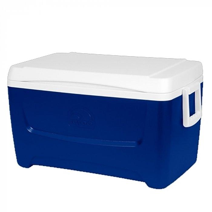Изотермический контейнер Iglooсвыше 40 литров<br>Пластиковый термоконтейнер Igloo Island Breeze 48 незаменимый спутник в дороге, в загородных поездках, на даче или на пикнике. Надежная термоизоляция позволяет сохранить продукты охлажденными. Корпус контейнера выполнен из высококачественного пластика, в синем цвете с белой крышкой, сбоку сделаны специальные ручки для удобства переноски. Крышка имеет плотную фиксацию. Сумка-контейнер обладает вместительностью 45 л и шириной, позволяющей вместить двухлитровые бутылки.<br>Основные преимущества приобретения изотермического контейнера от торговой марки Igloo:<br><br>Современный привлекательный дизайн.<br>Удобные для транспортировки размеры.<br>Усиленная поворотная ручка, которую можно зафиксировать.<br>UltraTherm   изоляции корпуса контейнера и его крышки.<br>Высокое европейское качество материалов изготовления.<br>Простота в уходе и использовании.<br>Разнообразные цветовые решения.<br>Идеален для любителей активного отдыха, рыбалки, охоты и путешествий.<br><br>Известный американский производитель   компания Igloo разработал серию пластиковых контейнеров, которые предназначены для хранения охлажденных продуктов или напитков. Все модели серии изготовлены из высококачественного материала,  благодаря надежному слою теплоизоляции,  способны сохранить необходимую температуру продуктов на протяжении длительного срока. Такое решение незаменимо на даче, на пикнике или на пляже. Для еще большего удобства некоторые модели серии оснащены специальной тележкой. <br><br>Страна: США<br>Объем, л: 45,0<br>Мощность, Вт: Нет<br>Питание, В: Нет<br>Max температура, C: Нет<br>Min температура, C: Нет<br>Функция подогрева: Нет<br>Дельта t, C: Нет<br>Кабель питания: Нет<br>Назначение: Изотермический контейнер<br>ГабаритыВШД,мм: 350x650x370<br>Вес, кг: 5<br>Гарантия: 1 год