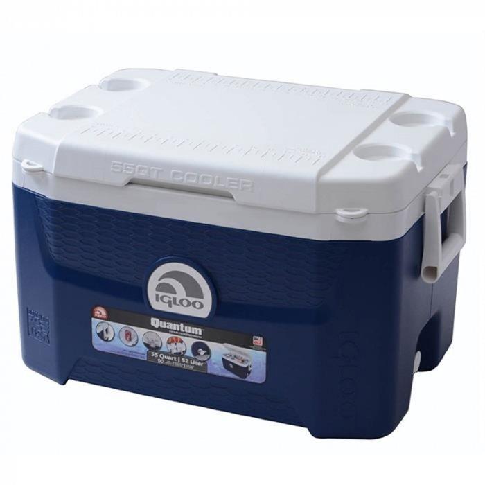 Изотермический контейнер Igloo Quantum 55свыше 40 литров<br>Igloo Quantum 55   это современный изометрический контейнер, который вмещает в себя около 15 литров продуктов питания, благодаря поддержанию необходимого показателя температуры на протяжении суток позволит сохранить качество пищи на достойном уровне. Присутствует поддон, а особенная конструкция верхней крышки позволяет открыть контейнер с помощью одного нажатия на кнопку.<br>Основные преимущества приобретения изотермического контейнера от торговой марки Igloo:<br><br>Современный привлекательный дизайн.<br>Удобные для транспортировки размеры.<br>Усиленная поворотная ручка, которую можно зафиксировать.<br>Наличие поддона для слива излишней жидкости.<br>Высокое европейское качество материалов изготовления.<br>Простота в уходе и использовании.<br>Разнообразные цветовые решения.<br>Идеален для любителей активного отдыха, рыбалки, охоты и путешествий.           <br><br>Изотермические пластиковые контейнеры Igloo   это отличное решение для тех, кто любит дальние путешествия, пикники, рыбалку, часто осуществляет поездку на концерты, соревнования и другие мероприятия. Данные изделия из экологически чистых материалов будут поддерживать различные жидкости и напитки охлажденными или горячими   в зависимости от функций и задач конкретной модели. <br><br>Страна: США<br>Объем, л: 52<br>Мощность, Вт: None<br>Питание, В: Нет<br>Max температура, C: None<br>Min температура, C: None<br>Функция подогрева: None<br>Дельта t, C: None<br>Кабель питания: Нет<br>Назначение: Изотермический контейнер<br>ГабаритыВШД,мм: 400x400x645<br>Вес, кг: 7<br>Гарантия: 6 месяцев
