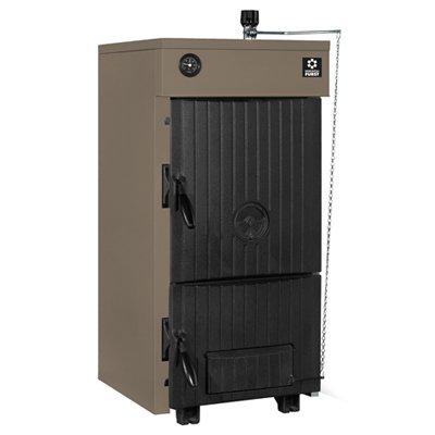 Котел Kentatsu Furst ELEGANT–0418 кВт<br>Для отопления помещений различного типа разработана новая модель котла &amp;ndash; Kentatsu Furst (Кентатсу фурст) ELEGANT&amp;ndash;04. Работа устройства осуществляется на твердых сортах топлива, увеличенная камера загрузки топлива рассчитана на большой объем, что позволяет увеличить время горения. Стоит отметить, что модель энергонезависима, а значит, еще более экономична и выгодна. Котел исполнен в элегантном корпусе, имеет небольшие установочные размеры.<br>Особенности рассматриваемой модели напольного котла отопления от Kentatsu Furst:<br><br>Современный элегантный дизайн.<br>Возможность использования в качестве топлива: дрова, уголь, антрацит, брикеты.<br>Высококачественный чугунный теплообменник, отлитый по технологии AminGas.<br>Поверхность теплообмена увеличена за счет дополнительных ребер в каналах отходящих дымовых газов, в результате чего достигается высокий КПД.<br>Механический термостат, входящий в комплект поставки, позволяет регулировать температуру теплоносителя, подаваемого в систему отопления, и увеличить время горения топлива.<br>Для визуального контроля температуры теплоносителя на передней панели котла установлен термометр.<br>Котлы оборудованы регулятором вторичного воздуха, который оказывает непосредственное влияние на снижение уровня выбросов в атмосферу.<br>Колосники котлов являются водоохлаждаемыми, что обеспечивает долгий срок их службы.<br>Возможность эксплуатации в энергонезависимых системах отопления.<br>В комплект поставки входят приспособления для проведения технического обслуживания.<br><br>Серия твердотопливных котлов отопления &amp;laquo;Elegant&amp;raquo; от Kentatsu Furst &amp;ndash; это современное оборудование, которое отличается универсальностью в вопросе выбора топлива. Рассматриваемые котлы способны работать на любом сорте твердого топлива, будь то уголь, антрацит, древесные брикеты или обычные сухие дрова. Особенностью серии является новая универсальная конструкция теплообменника, к