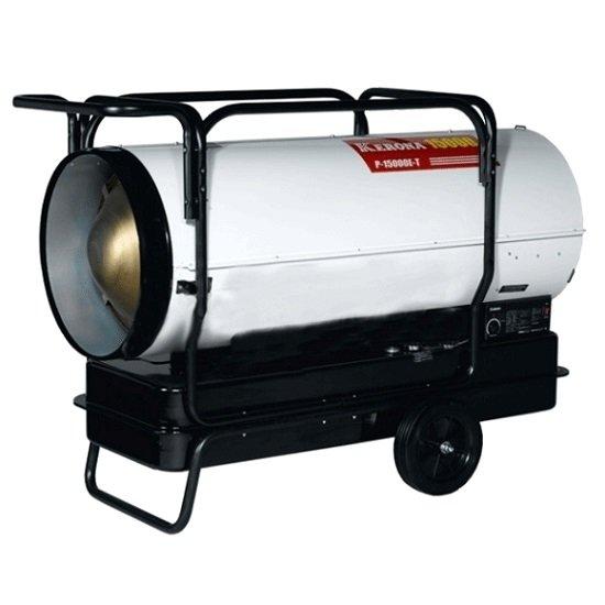 Тепловая пушка Kerona P-15000E-TДизельные пушки<br>Модель тепловой пушки KERONA (Керона) P-15000E-T работает от жидкого топлива. Мощное оборудование используется для обогрева помещений с большой площадью. Прибор подходит для ликвидации последствий замерзания складов или ангаров в холодное время года. Устройство предназначено для частой эксплуатации и рассчитано на продолжительный срок службы в штатном режиме.<br>Особенности и преимущества дизельной тепловой пушки Kerona:<br><br>наличие колес для перемещения<br>встроенный бак<br>встроенный термостат позволяет регулировать температуру в помещении от +4 до +45 С<br>электронная система розжига (высоковольтный керамический разрядник)<br>система контроля пламени и датчик перегрева<br>металлический  корпус<br><br>Жидкотопливная тепловая пушка имеет специальную продуманную конструкцию корпуса, современный удобный дизайн и превосходную безотказность при функционировании в жестких и агрессивных условиях эксплуатации. Тепловому оборудованию не требуется дымоход, отличный вариант для обогрева складских, производственных и сельскохозяйственных помещений. Управление и монтаж предельно прост, а конструкция максимально надежна в работе. Поверхность корпуса устойчива к механическим повреждениям, что позволяет сохранить идеальный производственный внешний вид долгий период времени. Самый распространенный вариант сушки строительных объектов, за счет высокого уровня производительности и экономичности. При функционировании пушки строительные материалы высыхают намного быстрее, теперь Вам не нужно ждать самостоятельного высыхания. Для использования прибора не требуются специальные навыки, процесс программирования быстрый и удобный.<br><br>Страна: Корея<br>Тип: Напольная<br>Мощность, кВт: 150<br>Площадь, м?: 1500<br>Скорость потока м/с: None<br>Расход топлива, кг/час: 15,6<br>Расход воздуха, мsup3;/ч: 522<br>Нагревательный элемент: Трубчатый<br>Вместимость бака, л: 189<br>Регулировка температуры: Есть<br>Вентиляция без нагрева: Нет<br>Наст