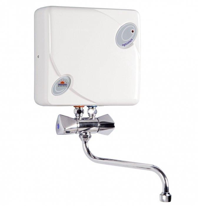 Водонагреватель Kospel EPJ 3,5 Optimus3.5 кВт<br>Электрический проточный водонагреватель Kospel EPJ 3,5 Optimus является одним из лучших в модельном ряде электрических водонагревателей с автоматическим управлением. Принцип его работы основывается на автоматическом нагревании воды,  температура воды зависит от ее напора. Благодаря доступному управлению настроить оптимальную температуру очень просто.<br> <br>Основные характеристики представленной модели:<br><br>возможность монтажа любого типа;<br>высококачественный нагревательный элемент;<br>экономичность;<br>регулировочный клапан;<br>небольшие размеры;<br>автоматизация регулирования;<br>надежность в работе;<br>мембрана из эластомера;<br>бесшумность работы;<br>регулируемая величина протока;<br>контролируемый температурный режим;<br>термическая защищенность;<br>плавная регулировка мощности;<br>высокая степень защиты (класс IP25);<br>современный эстетичный внешний вид;<br>звуковое оповещение о нагреве воды и смене режимов;<br>доступное управление;<br>гарантия изготовителя.<br><br> <br>Серия водонагревательного оборудования Kospel EPJ Optimus отличается высокой степенью защиты класса IP25, в приборах предусмотрена защита от перегрева и звуковое оповещение о смене режимов и нагреве воды до нужной температуры. Кроме того, приборы обладают компактными размерами, благодаря чему установить водонагреватели можно в помещениях с любыми конструктивными решениями.<br><br><br>Страна: Польша<br>Производитель: Польша<br>Темп. нагрева, С: 50<br>Способ нагрева: Электрический<br>Производительность: 1,7<br>Мощность, кВт: 3,5<br>Защита от перегрева: Есть<br>LCD дисплей: None<br>Управление: Гидравлическая<br>Тип установки: Вертикальная<br>Подводка: Нижняя<br>Комплектация: Кран<br>Тип подачи: Безнапорный<br>Напряжение сети, В: 220 В<br>Габариты ШхВхГ, см: 20х21.4х9.5<br>Вес, кг: 3<br>Гарантия: 1 год<br>Ширина мм: 200<br>Высота мм: 214<br>Глубина мм: 95