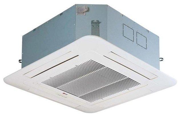 Кассетный кондиционер Lg UT60/UU6012 кВт - 42 BTU<br>С кассетной сплит-системой LG (ЛГ) UT60/UU60 в помещении всегда будет атмосфера идеального качества и температуры. Прибор оснащен Plasma-фильтром, эффективно очищающим воздух, и системой подачи уличного воздуха, что позволяет насытить воздух кислородом и одновременно очистить его от загрязнений. Установка прибора внутрь зазора между потолками (основным и подвесным) исключает загромождение пространства оборудованием и создает условия для идеально равномерного распределения кондиционированной воздушной массы по всему помещению.<br>Особенности и преимущества кассетных кондиционеров Lg серии UT/UU:<br><br>Установка прибора вровень по высоте помещения<br>Независимое управление потоком воздуха<br>Индивидуальное управление каждой створкой жалюзи<br>Встроенный дренажный насос<br>Расположение блока по высоте помещения<br>Антибактериальная защита<br>Алгоритм подвижных жалюзи<br>Подача свежего воздуха<br>Компактные габаритные размеры<br>Съемные угловые фиксаторы<br>Быстросъемная декоративная панель<br>Технологичный монтаж проводного ПДУ<br><br>Серия кассетных кондиционеров Lg серии UT/UU представляет оборудование, отличающееся надежностью, технологичностью и высокой энергоэффективностью. Благодаря тому, что прибор монтируется в зазор, образуемый подвесным и основным потолком, и видимой остается только декоративная панель, прилегающая к подвесному потолку, оборудование совершенно не занимает свободное пространство в помещении.<br><br>Страна: Корея<br>Площадь, м?: 140<br>Охлаждение, кВт: 14,3<br>Обогрев, кВт: 17,0<br>Компрессор: Не инвертор<br>Расход воздуха, мsup3;/ч: 2040<br>Осушение, л/час: None<br>Длина трассы, м: 25<br>Режимы работы: холод / тепло<br>Режим приточной вентиляции: Нет<br>Сенсор движения: Нет<br>Фильтры тонкой очистки воздуха: Нет<br>Уровень шума внеш/внутр.б., Дба: 55/43<br>Габариты внут. блока, ВШГ: 288x840x840<br>Габариты внеш. блока ВШГ: 950x1380x330<br>Вес внутр. блока, Кг: 26<br>Вес внеш. блока, Кг: 105
