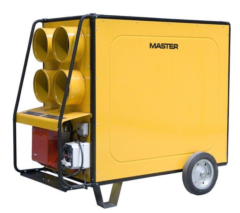Тепловая пушка Master BV 470 FS&gt; 40 кВт<br>Основная особенность модели дизельного теплогенератора MASTER BV 470 FS заключается в том, что прибор может обогревать помещение как прямым способом   путем установки оборудования непосредственно в обслуживаемом помещении, так и непрямым   подключая к прибору воздушные рукава и поставляя по ним воздух в любую точку, где это будет необходимо.<br>Прибор позволяет подключить до четырех воздушных рукавов   это позволяет либо более равномерно распределять воздух по одному большому помещению, либо одновременно снабжать теплом до четырех отдельных комнат.<br>Особенности прибора:<br><br>Высокая продуктивность обогрева помещений<br>В виде дополнительной опции возможно применение комнатного термостата<br>Возможность прямого и непрямого (удаленного) обогрева помещений<br>Возможность подключения до 4-х воздушных рукавов<br>Интенсивный воздушный поток<br>Горелка с регулятором тепловой производительности<br>Система контроля пламени<br>Фотоэлемент, интегрированный в систему контроля пламени<br>Электронная стабилизация пламени на горелке<br>Защита от перегревов<br>Электророзжиг горелки агрегата<br>Тепловая изоляция на двигателе вентилятора и корпусе прибора<br>Рабочая камера из нержавеющей стали<br>Переключатель на летний/зимний режимы<br>Простота ремонта и обслуживания<br>Прочное и износоустойчивое покрытие корпуса<br>Простота перемещения<br>Удобная тележка с колесиками и рамкой двусторонними ручками для перемещения прибора<br>Аккуратный и простой дизайн<br><br>Серия теплогенераторов MASTER BV FS(R) представляет собой дизельный нагреватели воздуха, предназначенные для прямого или непрямого (удаленного) обогрева помещений путем подачи в них нагретого воздуха. Оборудование с маркировкой в коде модели  R  оснащено центробежным вентилятором, обеспечивающим более эффективную циркуляцию воздуха через прибор.<br>Интенсивный воздушный поток, создаваемый мощным вентилятором, быстро распространяет тепло по всему помещению, за считанные минуты до