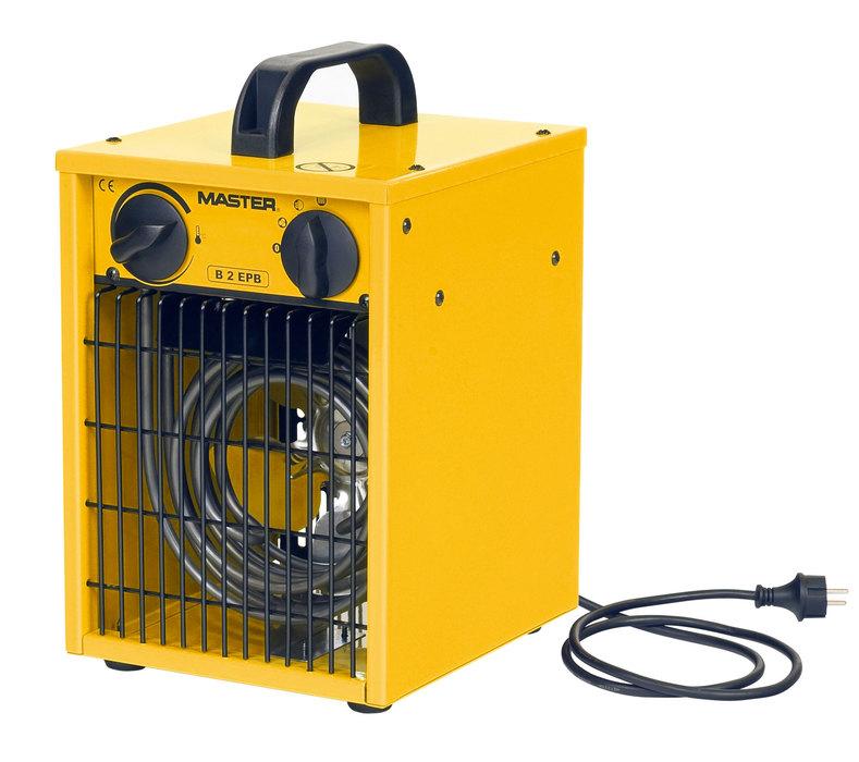 Тепловая пушка Master B 2 EPB2 кВт<br>Электрическая тепловая пушка Master B2 EPB предназначена для локального обогрева складов, цехов, теплиц, жилых и строящихся помещений. Рассматриваемое устройство не сжигает кислород, а значит, его можно использовать там, где находятся люди. Пушка данной модели работает от сети электричества, она не выделяет запахов, копоти и гари, и воздух в помещении, где  используются прибор, остаётся чистым. Master B 2 EPB компактна и безопасна в эксплуатации.<br>Особенности рассматриваемой модели электрической тепловой пушки прямого нагрева от торговой марки Master:<br><br>Современный  компактный дизайн прибора.<br>Долговечные стальные нагревательные элементы.<br>Износостойкое покрытие корпуса.<br>Качественные материалы изготовления и сборки.<br>Прочность конструкции.<br>Простая и понятная механическая система управления.<br>Прибор оборудован мощным вентилятором.<br>Пушка данной модели не сжигает кислород и не сушит воздух в помещении.<br>Возможность подключения комнатного термостата (опция).<br>Удобная ручка для переноски.<br>Превосходная теплоизоляция корпуса.<br>Электродвигатель оснащен системой защиты от перегрева.<br>Устойчивые элегантные ножки.<br><br>Тепловые пушки Master серии В служат для воздушного обогрева различных производственных, торговых, бытовых помещений, теплиц. Их можно использовать как для общего, так и для локального обогрева. Во время работы пушек не выделяются продукты сгорания, а также копоть и сажа, поэтому они безопасны и не мешают жизнедеятельности людей. Встроенный вентилятор нагнетает воздушный поток, который, мгновенно нагреваясь, проходит через нагревательный элемент, не сжигая кислород. Модели этой серии имеют защиту от перегрева, поэтому они безопасны при эксплуатации. Пушки этой серии компактны, могут легко переноситься с помощью удобной ручки.<br><br>Страна: Россия<br>Тип: Электрическая<br>Площадь, м?: 20<br>Мощность, кВт: 2,0<br>Скорость потока м/с: None<br>Расход топлива, кг/час: None<br>Расход воздуха, 