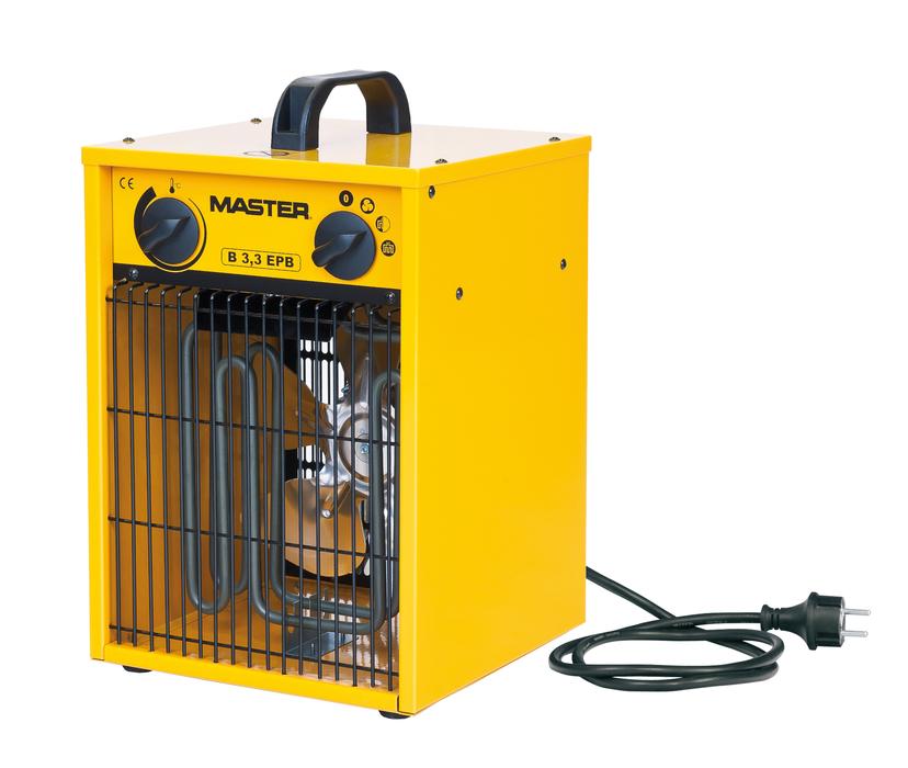 Тепловая пушка Master B 3,3 EPB3 кВт<br>Тепловая пушка Master B 3,3 EPB   это электрический прибор, предназначенный для локального обогрева самых разнообразных помещений   жилых, складских, производственных, в теплицах и на строительных объектах. Рассматриваемая модель не сжигает кислород, поэтому его можно применять там, где работают люди. Модель имеет регулятор мощности, что позволяет экономить электроэнергию, большего удобства добавляет возможность перемещения при помощи эргономичной ручки.<br>Особенности рассматриваемой модели электрической тепловой пушки прямого нагрева от торговой марки Master:<br><br>Современный  компактный дизайн прибора.<br>Долговечные стальные нагревательные элементы.<br>Износостойкое покрытие корпуса.<br>Качественные материалы изготовления и сборки.<br>Прочность конструкции.<br>Простая и понятная механическая система управления.<br>Прибор оборудован мощным вентилятором.<br>Пушка данной модели не сжигает кислород и не сушит воздух в помещении.<br>Возможность подключения комнатного термостата (опция).<br>Удобная ручка для переноски.<br>Превосходная теплоизоляция корпуса.<br>Электродвигатель оснащен системой защиты от перегрева.<br>Устойчивые элегантные ножки.<br><br>Тепловые пушки Master серии В служат для воздушного обогрева различных производственных, торговых, бытовых помещений, теплиц. Их можно использовать как для общего, так и для локального обогрева. Во время работы пушек не выделяются продукты сгорания, а также копоть и сажа, поэтому они безопасны и не мешают жизнедеятельности людей. Встроенный вентилятор нагнетает воздушный поток, который, мгновенно нагреваясь, проходит через нагревательный элемент, не сжигая кислород. Модели этой серии имеют защиту от перегрева, поэтому они безопасны при эксплуатации. Пушки этой серии компактны, могут легко переноситься с помощью удобной ручки.<br><br>Страна: Россия<br>Тип: Электрическая<br>Мощность, кВт: 3,3<br>Площадь, м?: 33<br>Скорость потока м/с: None<br>Расход топлива, кг/час: None<br>Расход