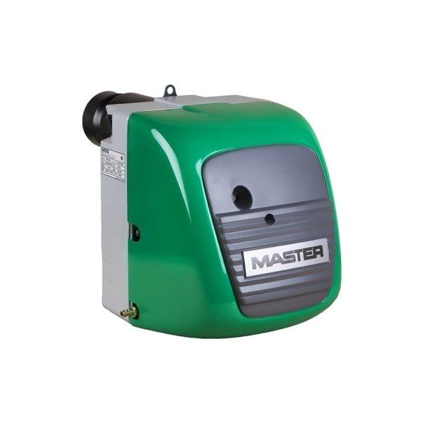 Универсальная горелка MasterДизельные<br>Master (Мастер) MB 100   это модель универсальной горелки, которая подходит для совместной работы с различными видами отопительного оборудования, независимо от фирмы производителя. Модель оснащена регулятором давления сжатого воздуха с манометром. Предварительный подогрев топлива осуществляется в специально отведенном герметичном отсеке. <br>Особенности и преимущества:<br><br>Высокое качество и стабильность работы (Европейская сборка)<br>Все комплектующие ведущих Европейских производителей<br>Фильтр в комплекте с горелкой<br>Простота сервисного обслуживания<br>Высокий КПД<br>Топливо:<br><br>дизельное,<br>отработанные масла,<br>лёгкое и тяжёлое печное,<br>животные жиры,<br>рапсовое или подсолнечное масло .<br><br><br><br>Master MB   это серия универсальных горелок, которые подходят для отопительных котлов, обогревателей воздуха и теплогенераторов различных моделей и производителей. Преимуществом моделей является то, что они производят сжигание синтетических и натуральных масел, а также дизельного топлива. В зависимости от требований оборудования, горелки отличаются по своей мощности.<br><br>Страна: США<br>Вид топлива: Универсальный<br>Число ступеней регулирования: 1<br>Min мощность, кВт: 40,0<br>Max мощность, кВт: 100,0<br>Min мощность 2я ступень, кВт: None<br>Min расход топлива, кг/ч: None<br>Max расход топлива, кг/ч: 8,0<br>Напряжение/частота тока, В/Гц: 230/50<br>Потребляемая мощность, Вт: 485<br>Вес, кг: 17<br>Гарантия: 1 год