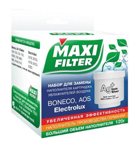 Набор Maxi Filter для замены наполнителя фильтров-картриджейАксессуары<br>Для обслуживания ультразвукового воздухоувлажнителя от таких известных марок, как Electrolux, Boneco и AOS предлагаем приобрести MAXI FILTER Набор. Комплект состоит из специального стакана,  пробки и наполнителя, изготовленного на основе ионообменной смолы. Изделие предназначено для одного наполнения картриджа.<br>Если у вас дома есть увлажнитель, очиститель или мойка воздуха, то вам обязательно стоит задуматься о приобретении аксессуара для ухода за данным оборудованием. Предлагаем серию средств от отечественной марки MAXI FILTER, где вы найдёте только качественную продукцию по доступной стоимости. <br><br>Страна: Россия<br>Запах: Нет<br>Вес, кг: 1<br>ГабаритыВШГ, мм: None