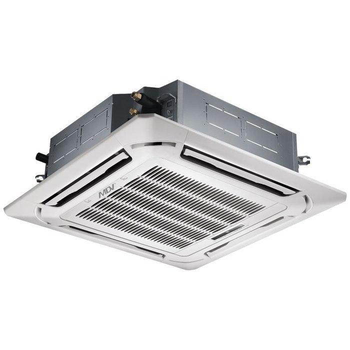 Кассетный кондиционер Mdv MDCD-48HRN1/MDOU-48HN1-L12 кВт - 42 BTU<br>Кассетная сплит-система  Mdv (Мдв) MDCD-48HRN1/MDOU-48HN1-L   это экономичное и производительное устройство для объектов различной направленности, нуждающихся в эффективном изменении микроклимата и улучшении качества комнатного воздуха. Данная модели оснащена системой разморозки, не подвержена воздействию коррозии, а также не издает шума при работе.<br>Особенности и преимущества полноразмерных сплит-систем кассетного типа Mdv серии MDCD:<br><br>Предустановленный низкотемпературный комплект обеспечивает работу кондиционера при температуре наружного воздуха до -25 о С. В межсезонье, при уличной температуре от +15 о С до +5 о С сохраняется 100% холодопроизводительность, что особенно актуально для помещений коммерческого назначения (например, магазины).<br>Распределение потока воздуха на 360о. Панель с круговым распределением воздушного потока обеспечивает быстрое и равномерное охлаждение или нагрев помещения. Воздух выдувается по восьми направлениям.<br>Подключение приточного воздуха. Для подачи свежего воздуха в помещение на корпусе есть специальные отверстия, нет необходимости в дополнительной вентиляционной решетке.<br>Дренажная помпа для отвода конденсата на высоту до 750 мм предотвращает застаивание жидкости в дренажной системе.<br>Сверхтонкий корпус. Высота внутреннего блока в новой серии MDCD уменьшена до 55 мм по сравнению с предыдущими сериями кондиционеров.<br>Возможность подачи воздуха в соседние помещения. Предусмотрена возможность подключения воздуховодов, что позволяет кондиционировать даже маленькие по площади помещения (например, касса банка).<br>Автоматический перезапуск. В случае непредвиденного отключения кондиционера из-за сбоя питания, после возобновления подачи электроэнергии кондиционер MDV продолжает свою работу и автоматически возвращается к ранее установленным настройкам.<br><br>Высокотехнологичные сплит-системы кассетного типа полноразмерные Mdv серии MDCD помогут не только 